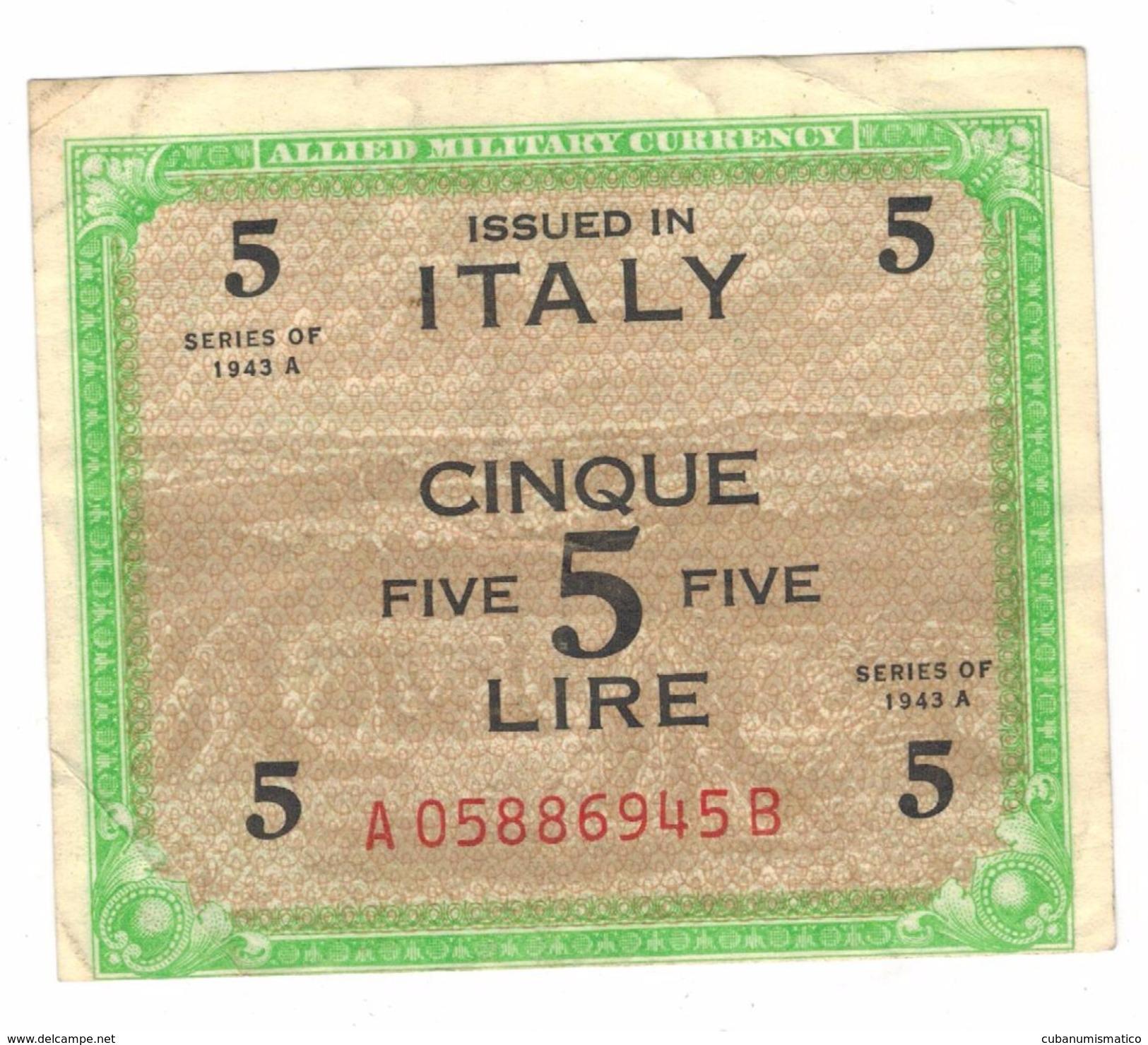 Italy , 5 Lire 1943 A, VF. - Geallieerde Bezetting Tweede Wereldoorlog