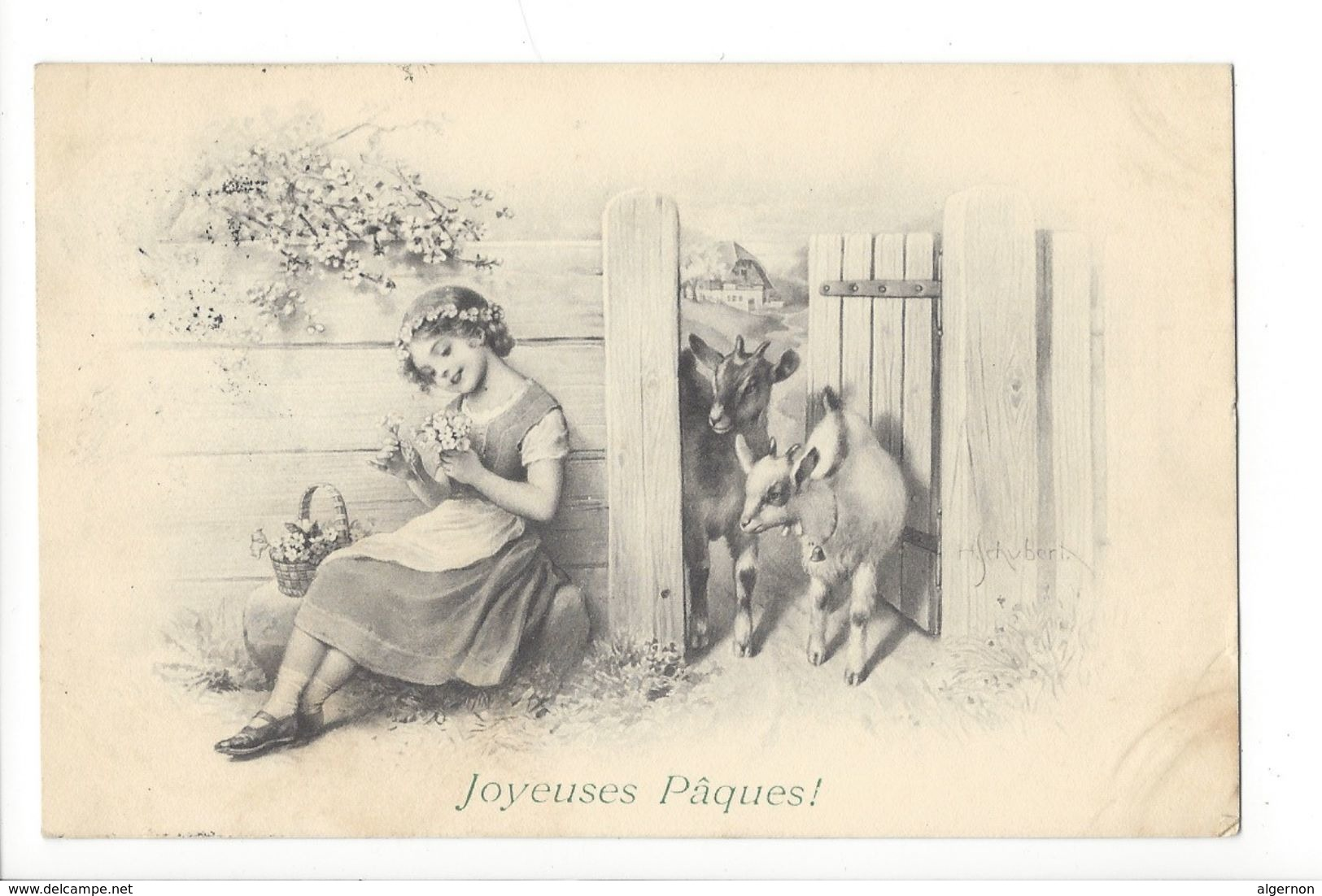 17794 - Joyeuses Pâques Jeune Fille Et Chèvres M. Vienne Munk N°579 - Pâques