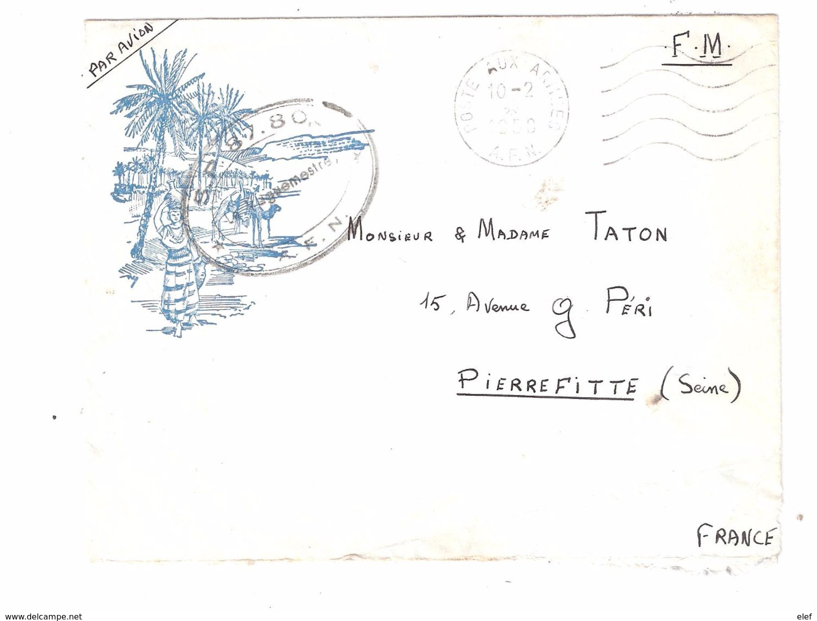 Lettre FM Illustrée Avion Guerre Algérie,Poste Aux Armées  A F N Cachet Vaguemestre De Laugier  SP 854 Section A 1958 - Storia Postale