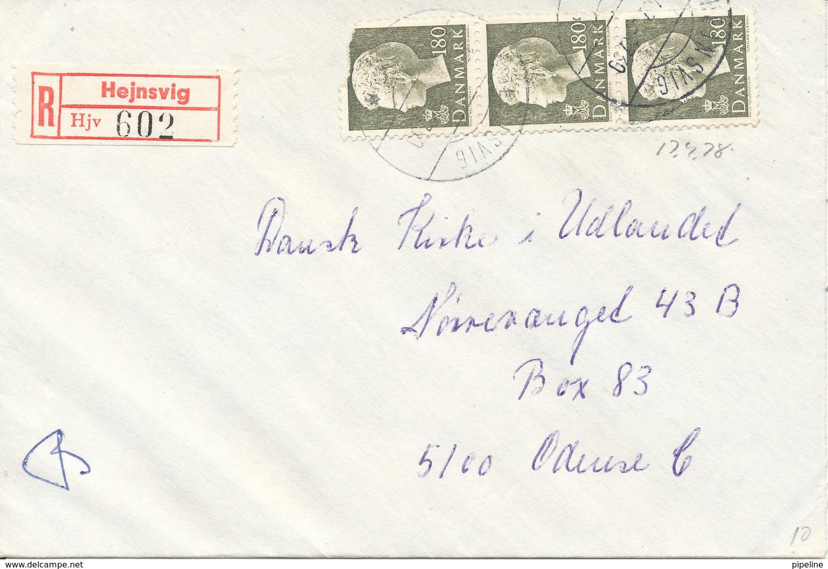 Denmark Registered Cover Hejnsvig 1978 - Peru