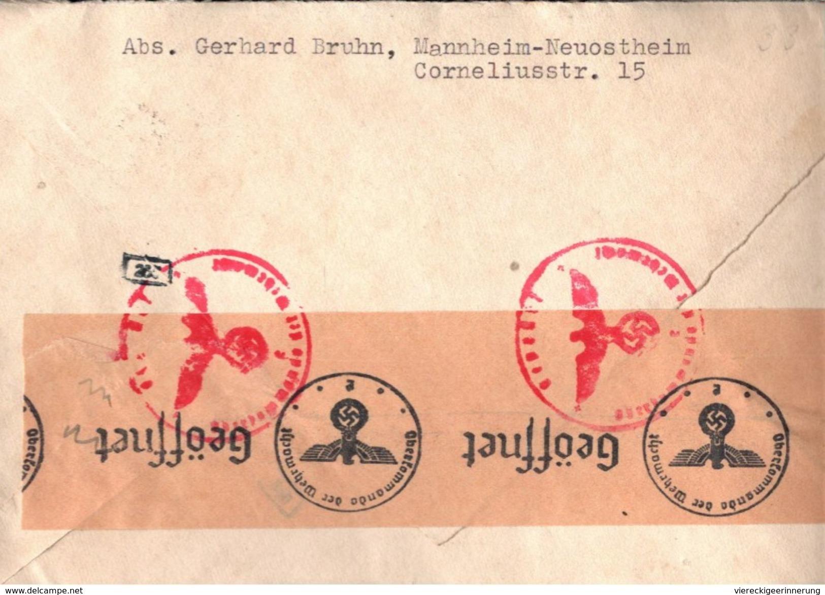 ! Brief Aus Mannheim N. Zürich Deutsches Reich OKW Zensur , Censure, Censor - Storia Postale