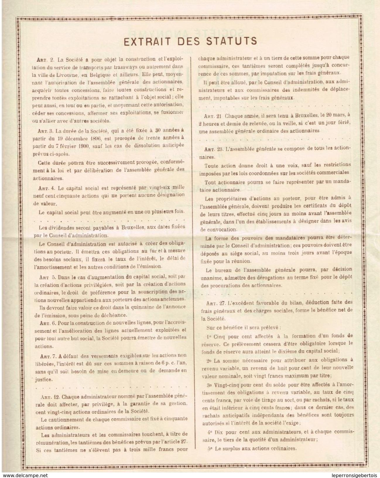Action Ancienne - Sté Anonyme Des Tramways De Livourne - Titre De 1922 - - Chemin De Fer & Tramway