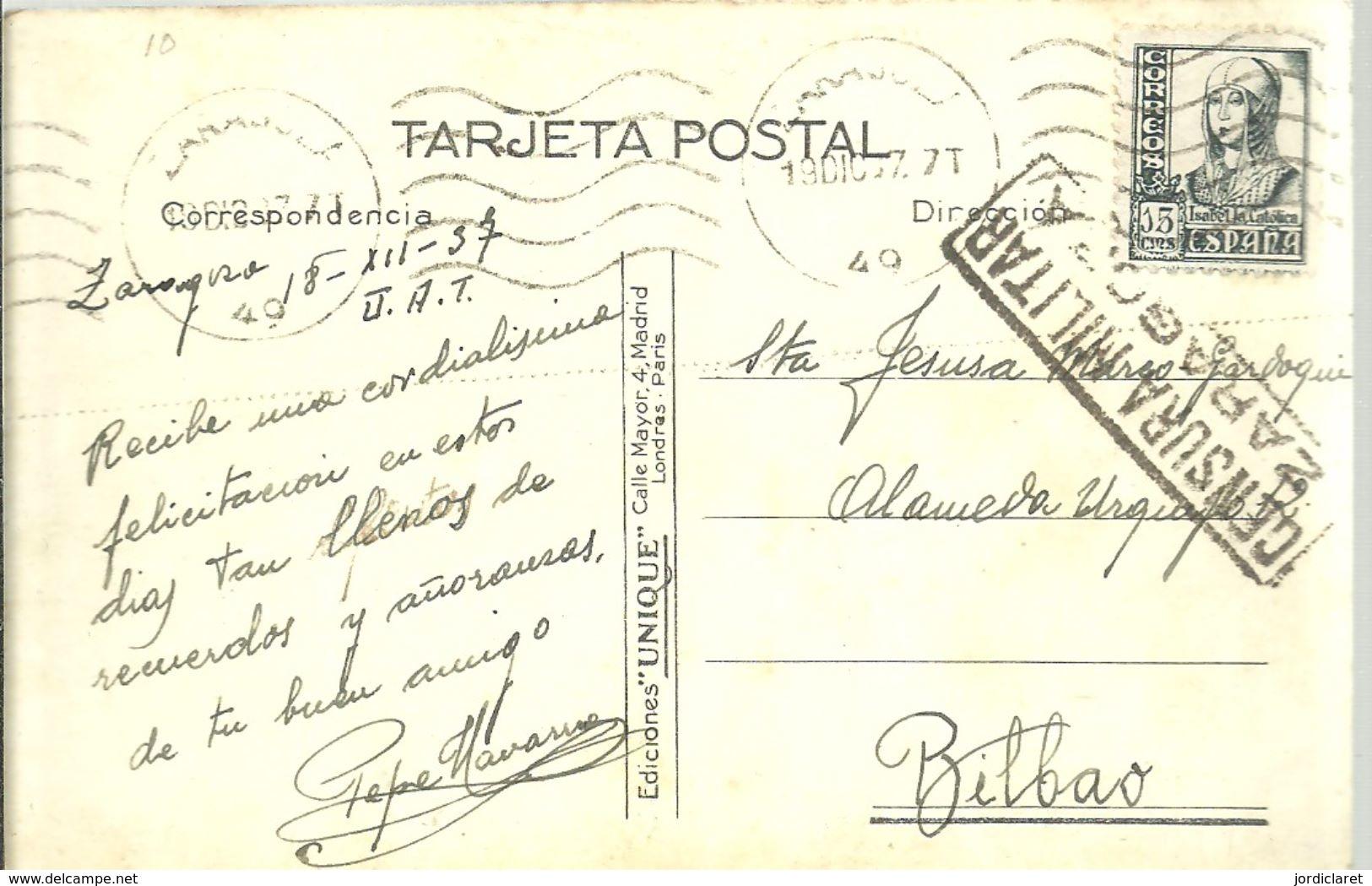 POSTAL  CENSURA ZARAGOZA  1937  SCANER - Marcas De Censura Nacional