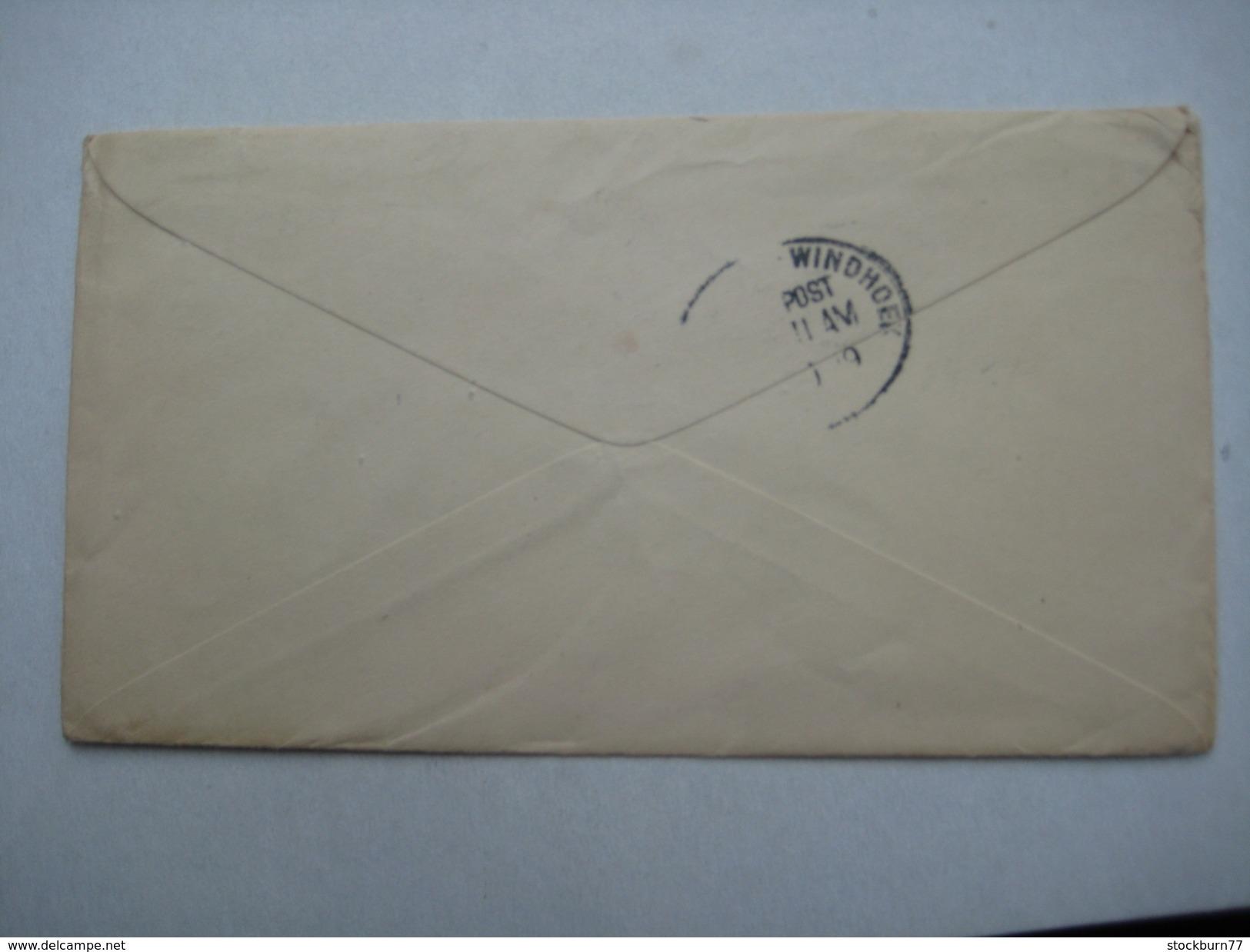 1919 , Brief Aus Den USA Mit Zensur Nach Windhuk , Rs. Aptierter Bahnpoststempel - Colony: German South West Africa