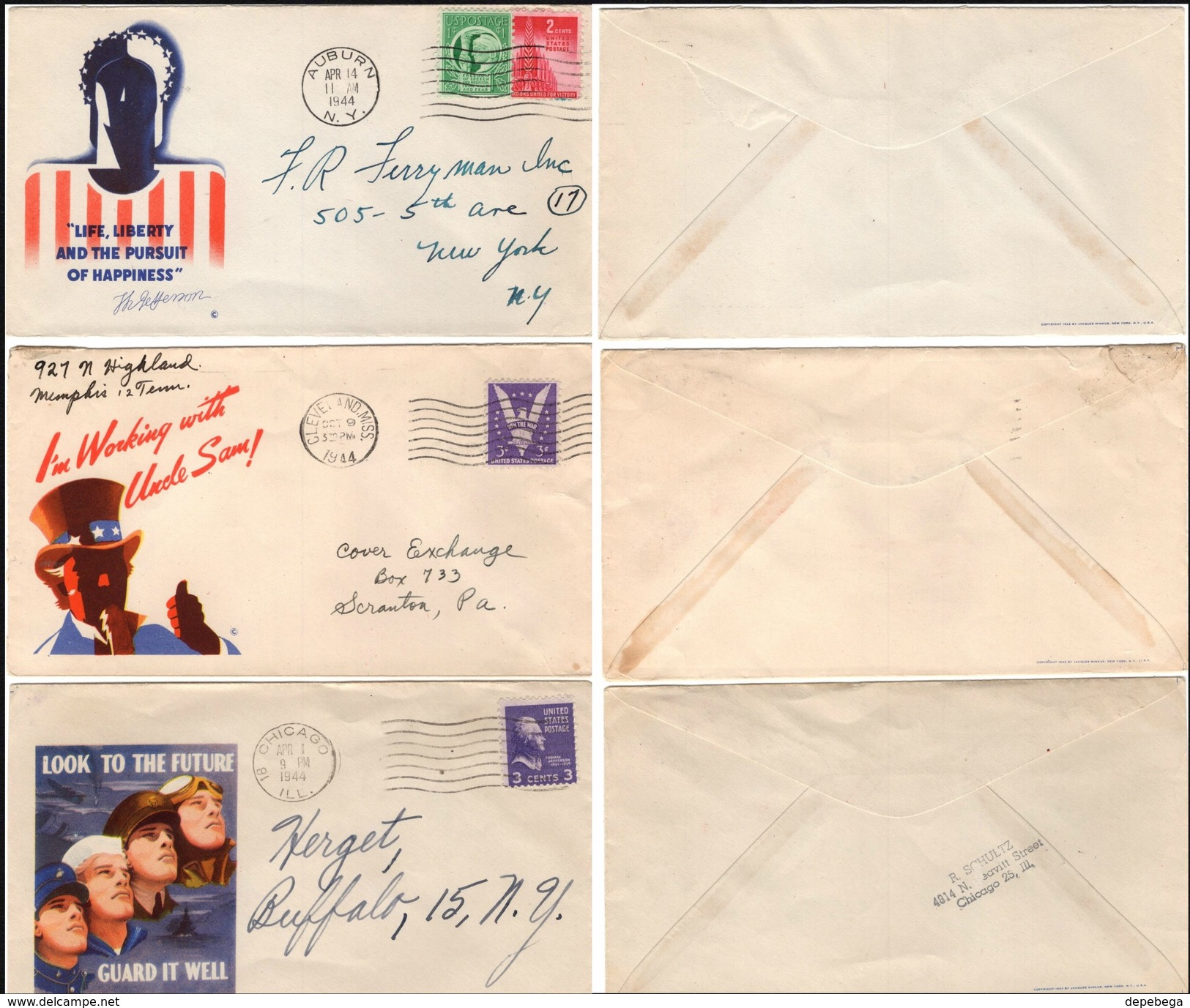 USA - Patriotic Covers. Aubur Apr. 14.'44, Cleveland Oct.9.'44, Chicago Apr.1.1944. - Vereinigte Staaten