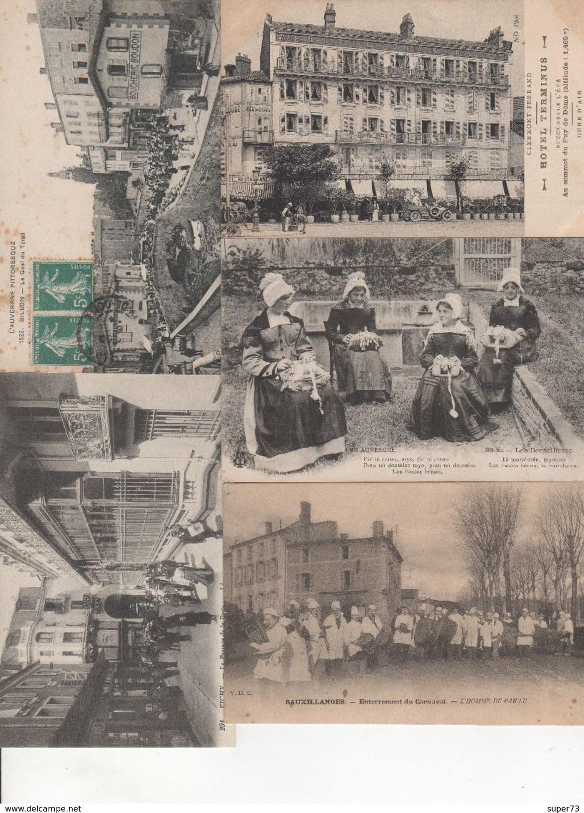 Beau Lot De 40 Cartes Postales Anciennes Auvergne Départements 03 , 15 , 63 Dont Nombreuses Animations - Cartes Postales