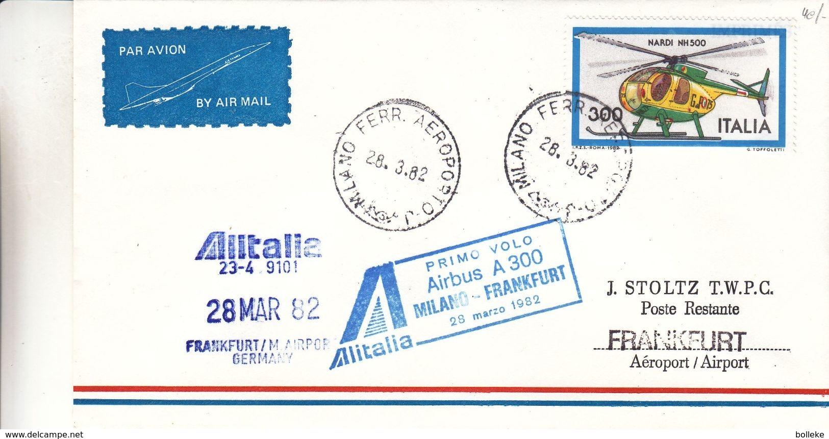 Italie - Lettre De 1982 - Oblit Milano - 1er Vol Airbus Milano  Frankfurt - Hélicoptère - 1981-90: Storia Postale