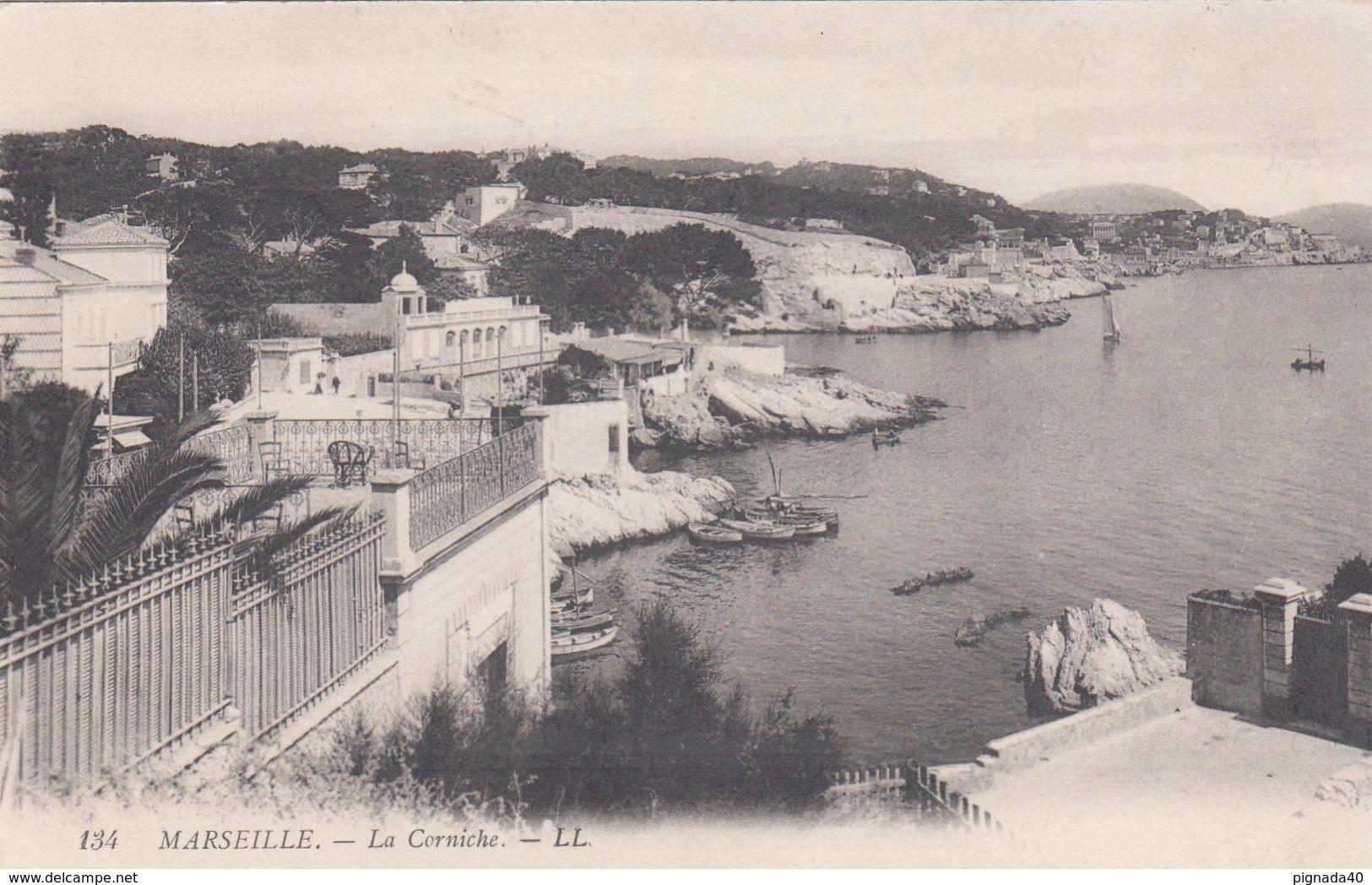 Cp , 13 , MARSEILLE , La Corniche - Endoume, Roucas, Corniche, Beaches