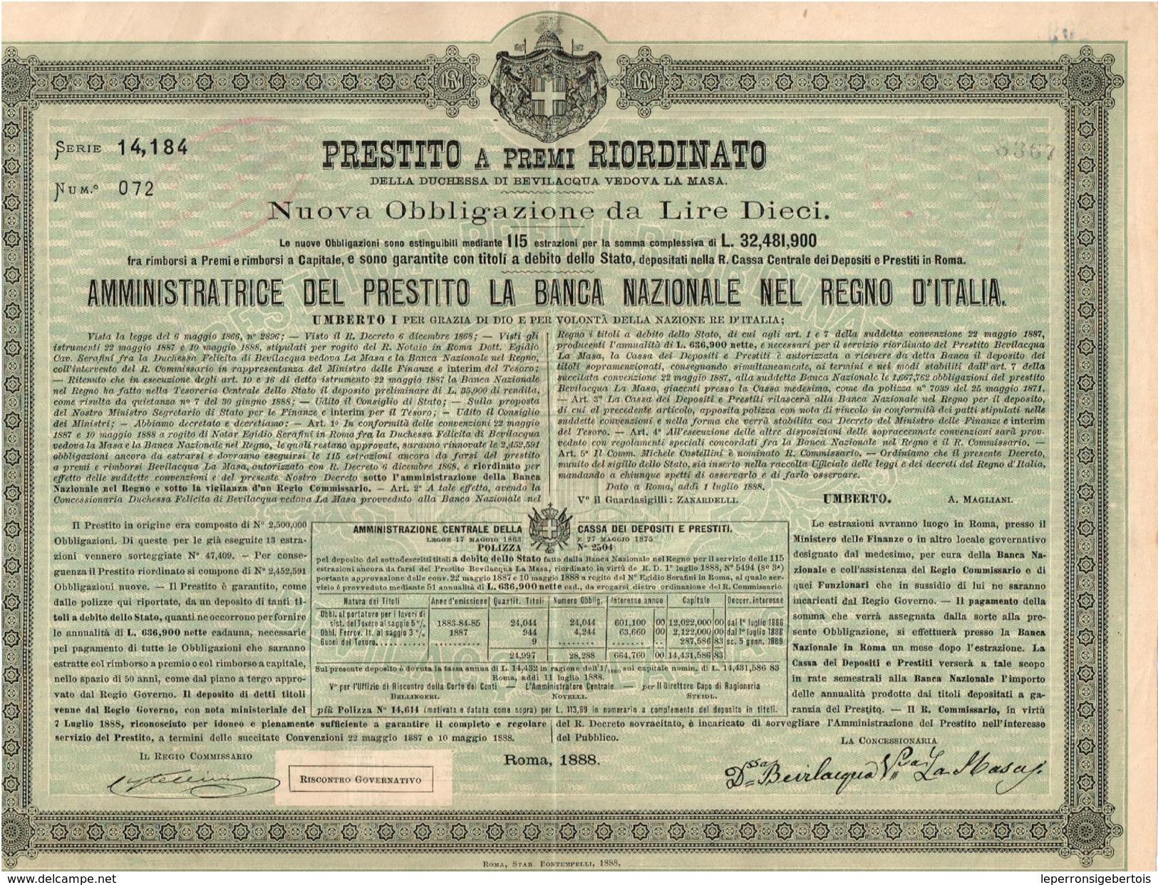 Obligation Ancienne - Prestito A Premi Riordinato Della Duchessa Di Bevilacqua Vedova La Masa - Titre De 1888 - - Banque & Assurance