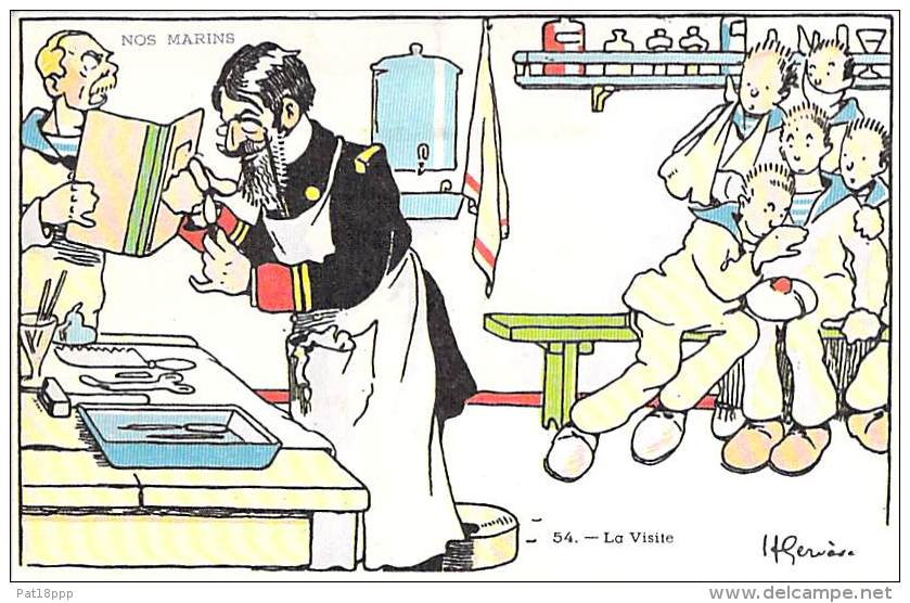 FANTAISIE MARINS ( Série Nos Marins ) La Visite Médicale - CPA - Sailors Segler Zeelieden Marineros Marinai - Fancy Cards