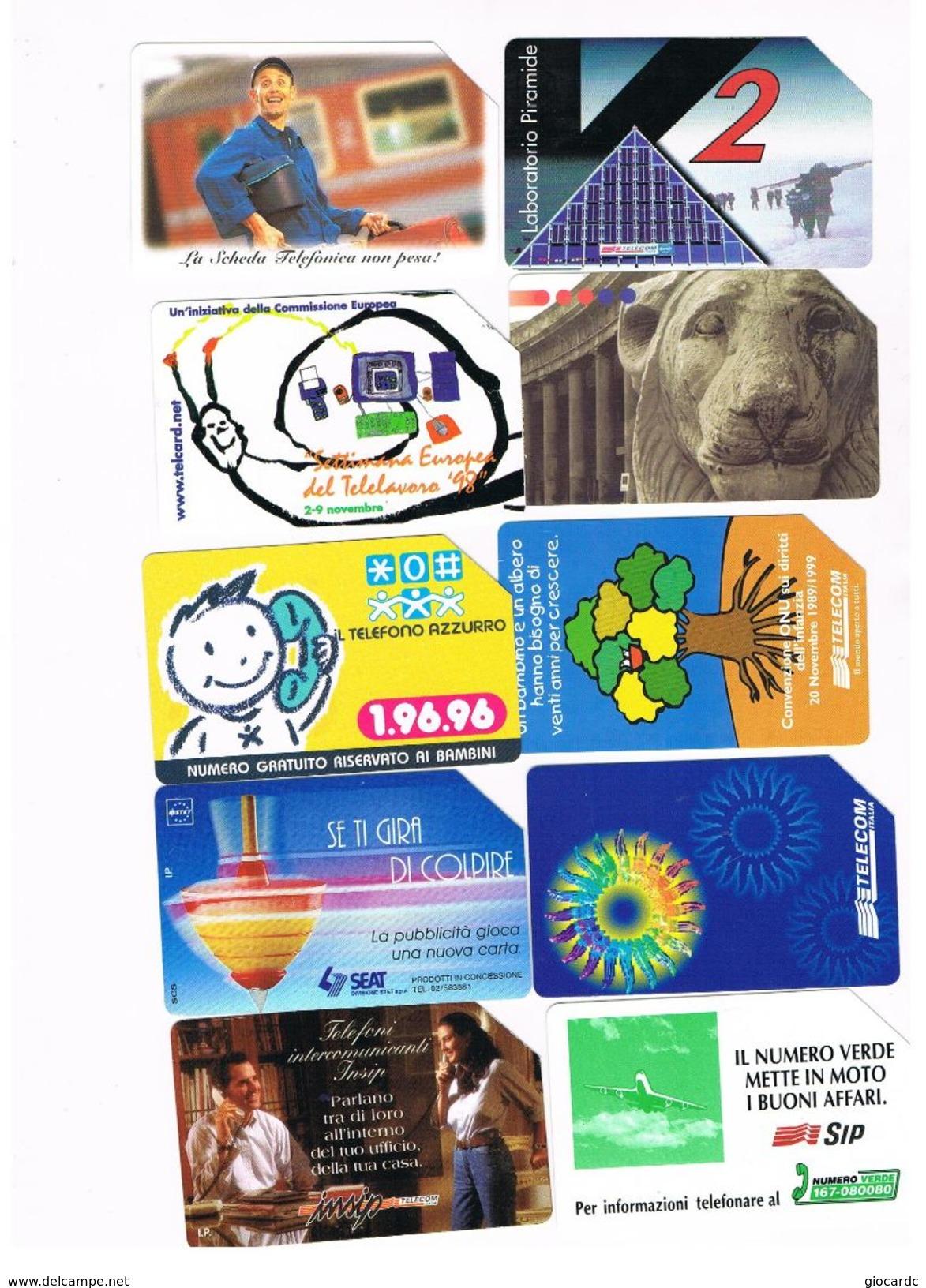 TELECOM ITALIA -  LOTTO DI 10 SCHEDE TELEFONICHE DIFFERENTI  - USATE - Italia