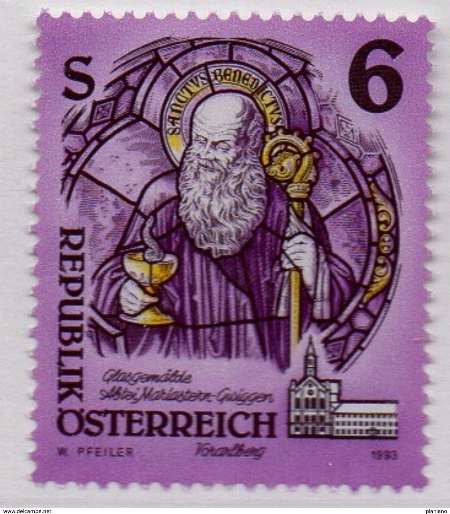 PIA  -  AUSTRIA  -  1993  : Vetrata Del Monastero Di Mariastern . S. Benedetto Da Norcia  - (Yv  1937) - Vetri & Vetrate