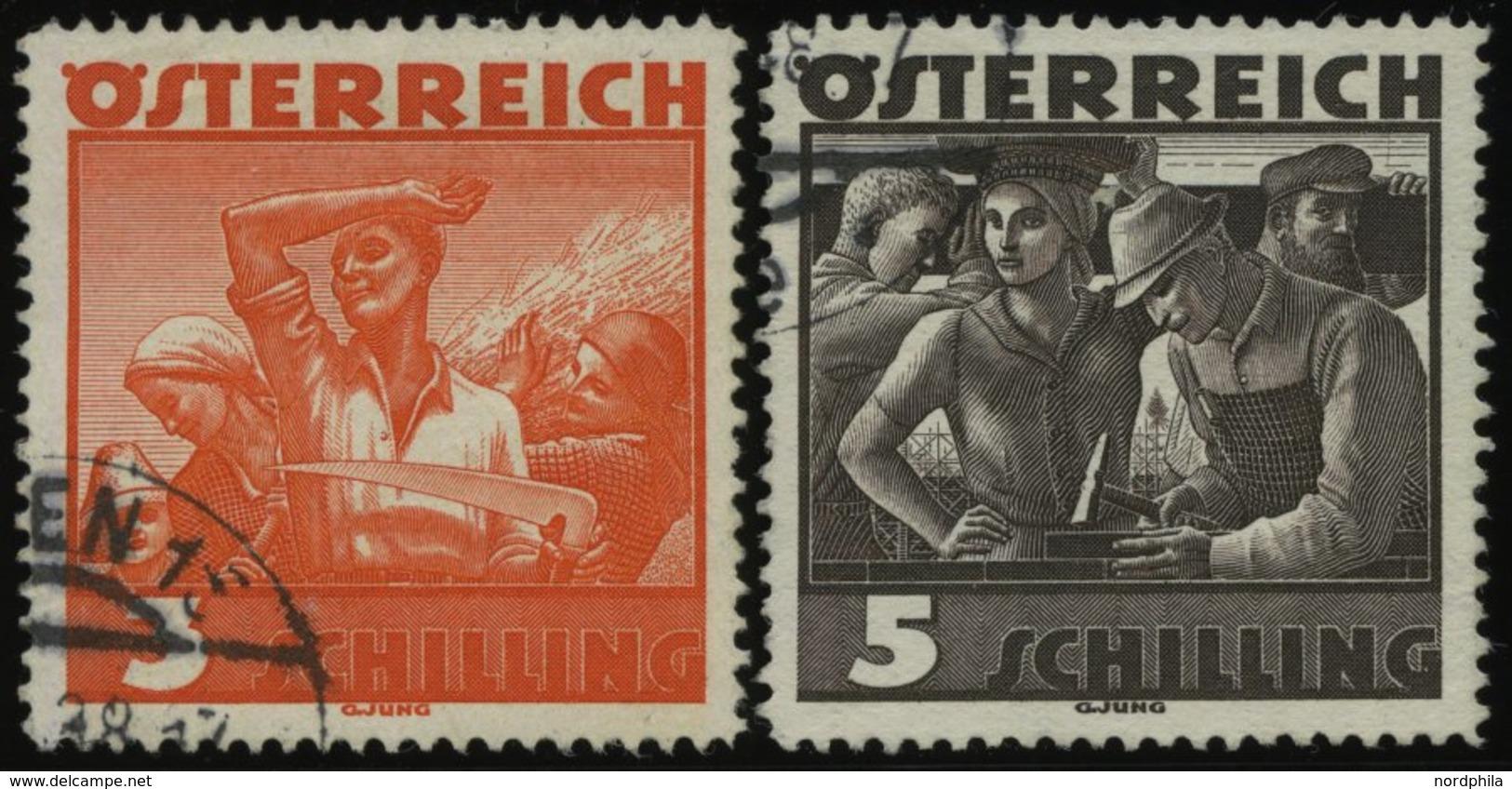 ÖSTERREICH 586/7 O, 1936, 3 Und 5 S. Trachten, Normale Zähnung, Pracht - Gebraucht