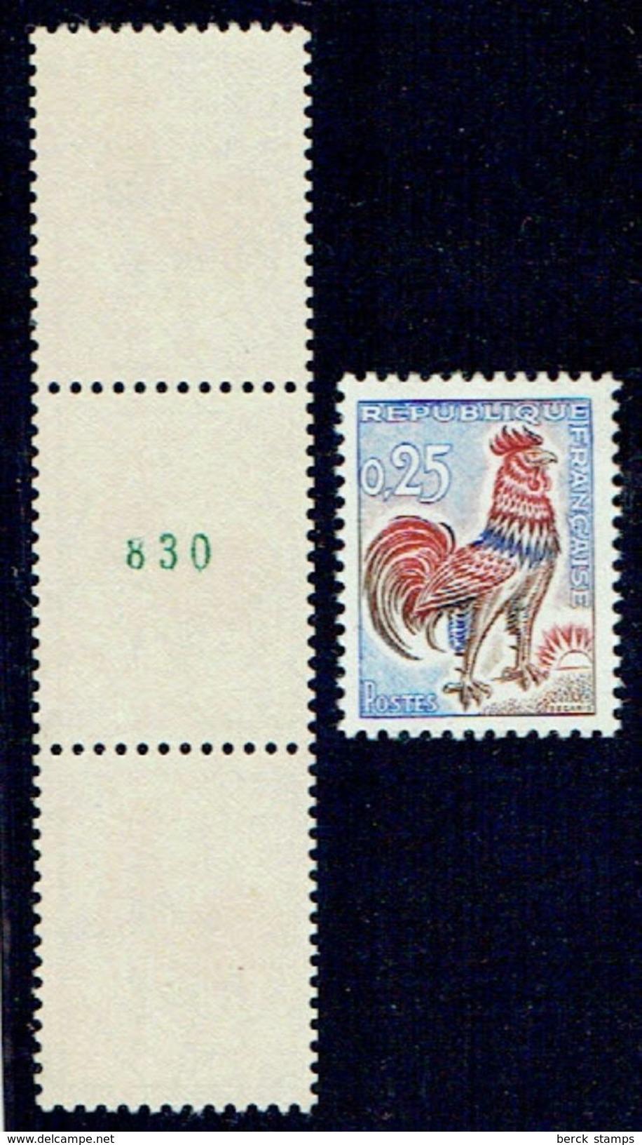 France - N°1331 C - 0,25 - Coq Numéro VERT - En Bande De 3 Luxe -  Cote: 340€ - Coil Stamps