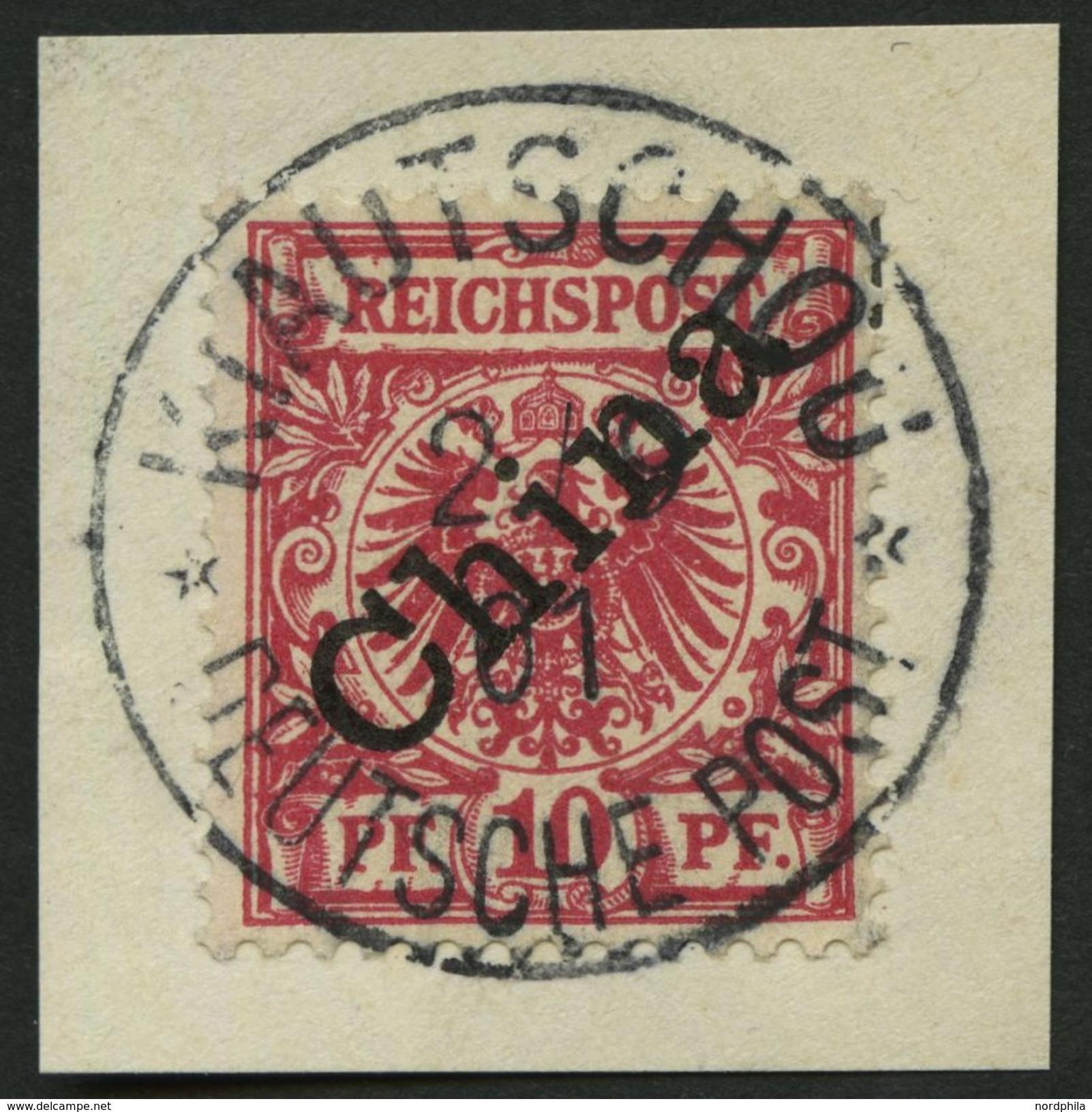 KIAUTSCHOU V 3I BrfStk, 1901, 10 Pf. Diagonaler Aufdruck, Idealer Stempel KIAUTSCHOU DP **, Kabinettbriefstück, R! - Kolonie: Kiautschou