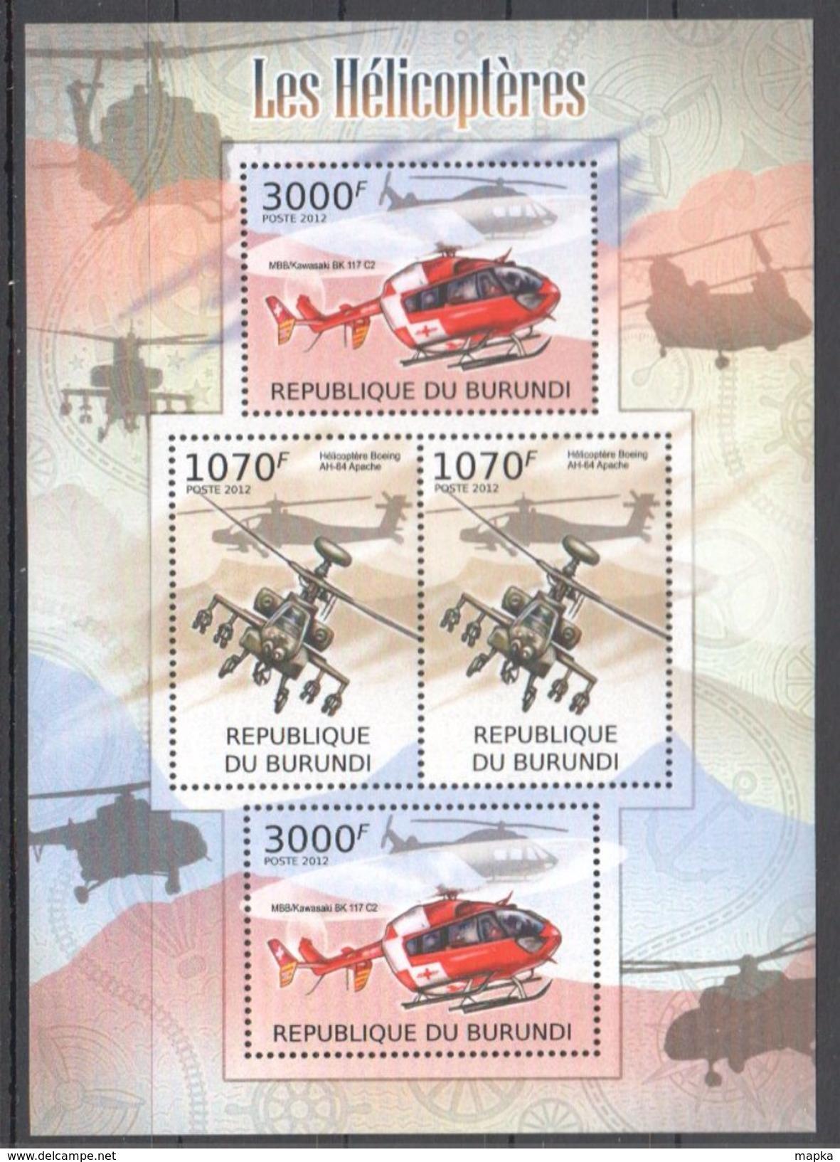 K868 2012 BURUNDI TRANSPORTATION AVIATION LES HELICOPTERES 1KB MNH - Hélicoptères