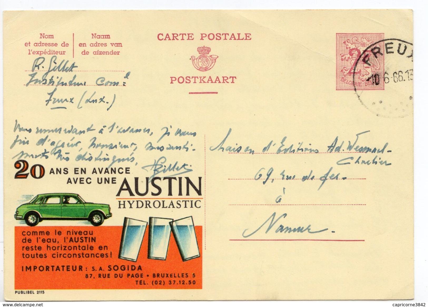 """1966 - Belgique - Publibel N° 2115 - Carton Jaune -  """"20 ANS EN AVANCE VEC UNE AUSTIN HYDRAULASTIC"""" - Enteros Postales"""