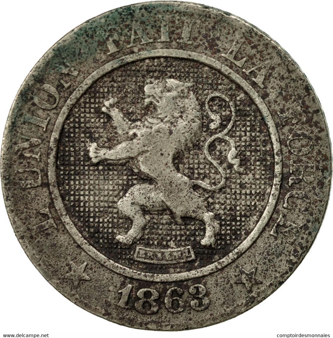 Belgique, Leopold I, 10 Centimes, 1863, TB, Copper-nickel, KM:22 - 1831-1865: Léopold I