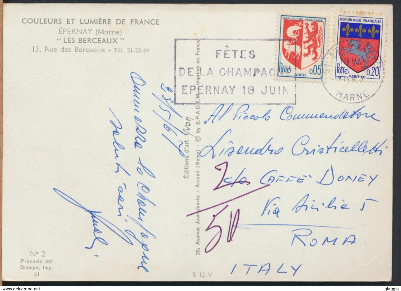 °°° 9520 - FRANCE - 51 - EPERNAY - LES BERCEAUX - 1967 With Stamps °°° - Epernay