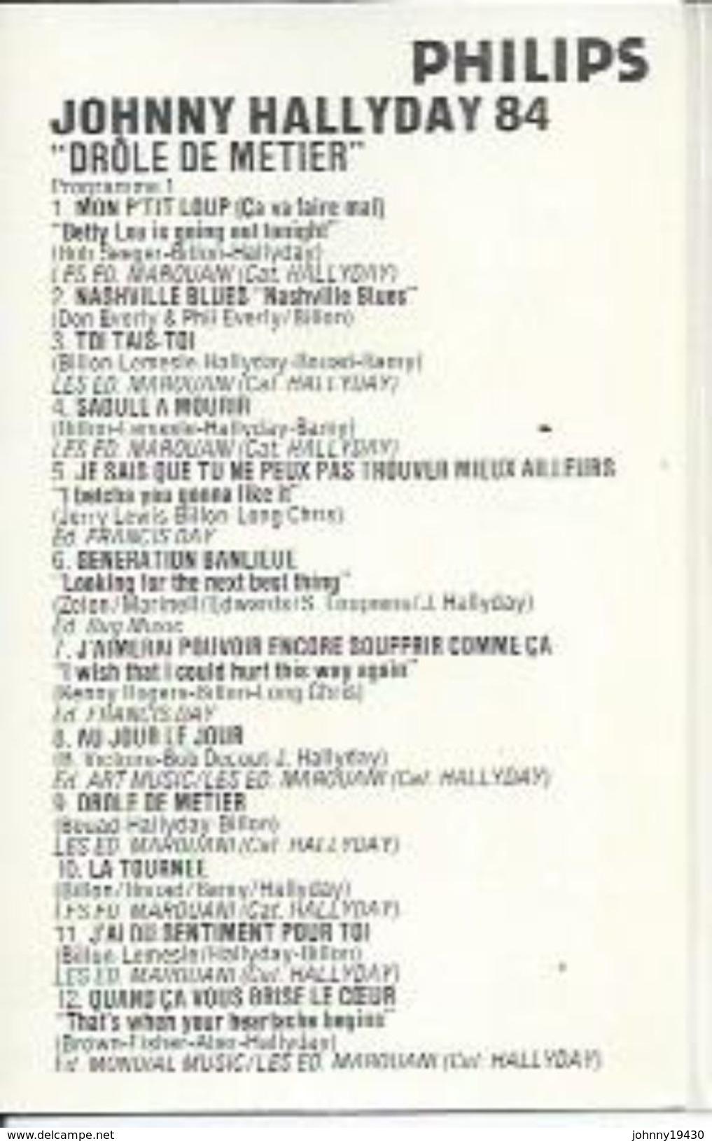 "K7 Audio - JOHNNY HALLYDAY "" NASHVILLE HALLYDAY 84 ""  27 TITRES Double Duree - Cassettes Audio"