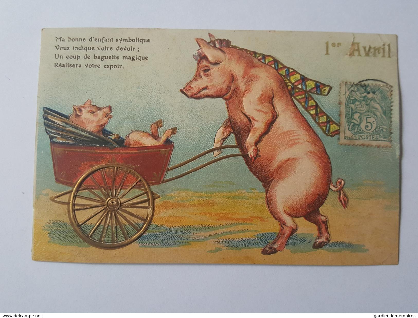 Cochon Humanisé - La Maman Pousse Le Berceau - 1 Er Avril - Belle Carte Gaufrée - Cochons