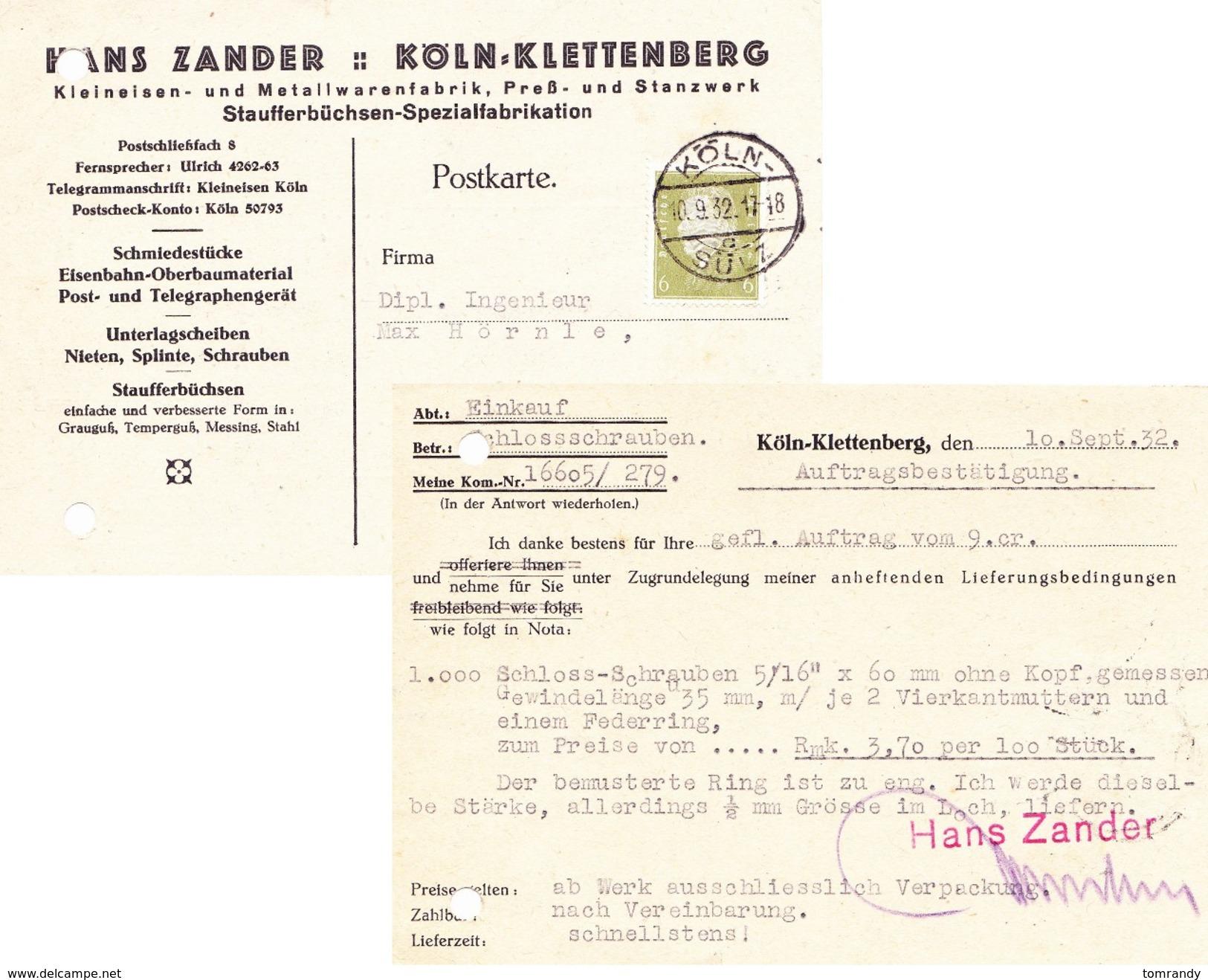 Köln-Sülz 1932. Auftragsbestätigung, Zander Metallwaren - Deutschland