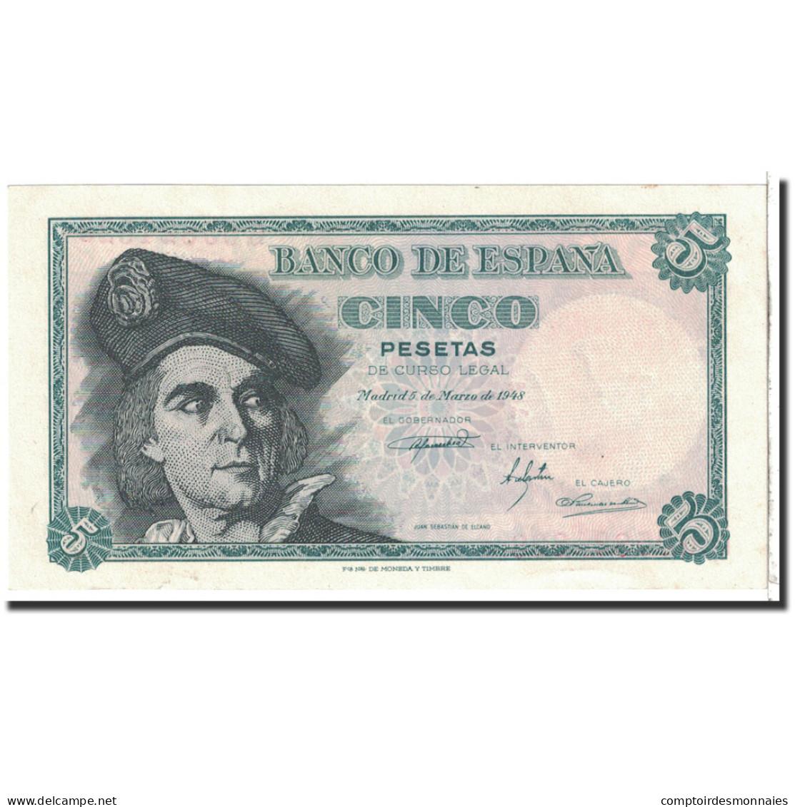 Espagne, 5 Pesetas, 1948, KM:136a, 1948-03-05, NEUF - [ 3] 1936-1975 : Régence De Franco
