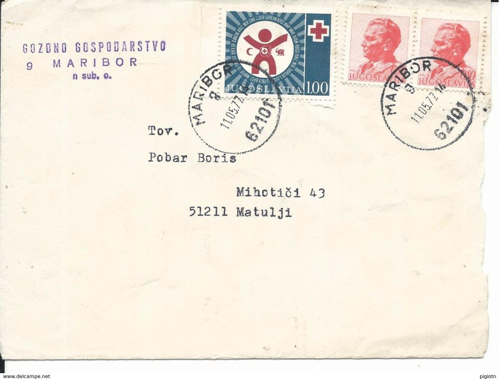 JUG007 -  JUGOSLAVIA - LETTERA DA MARIBORI A MATULJI - 11.5.1977- N° 2x1435A+Ben. 67 - CATALOGO UNIFICATO - 1945-1992 Repubblica Socialista Federale Di Jugoslavia