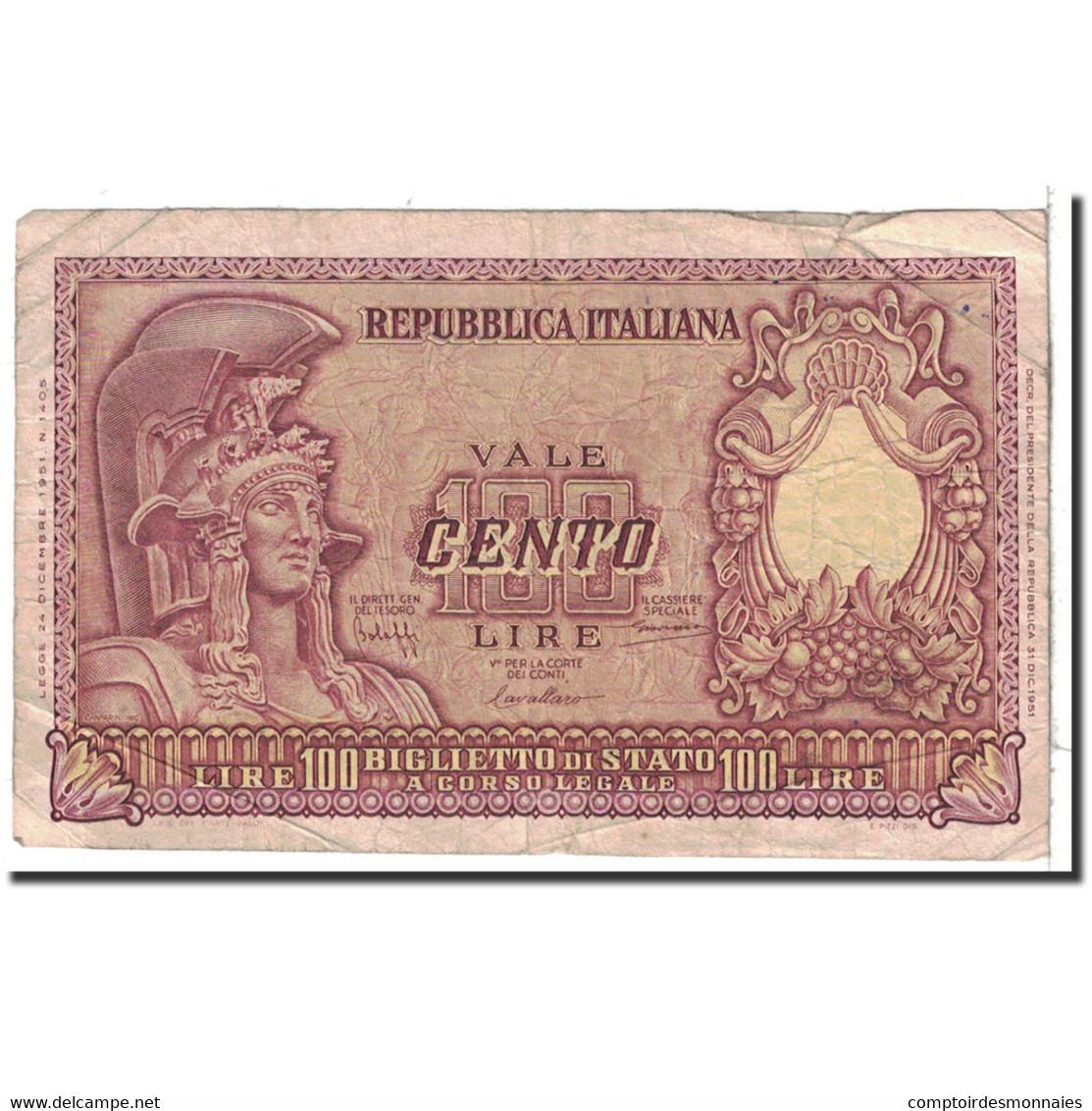 Italie, 100 Lire, 1951, KM:92a, 1951-12-31, TB - [ 2] 1946-… : Républic