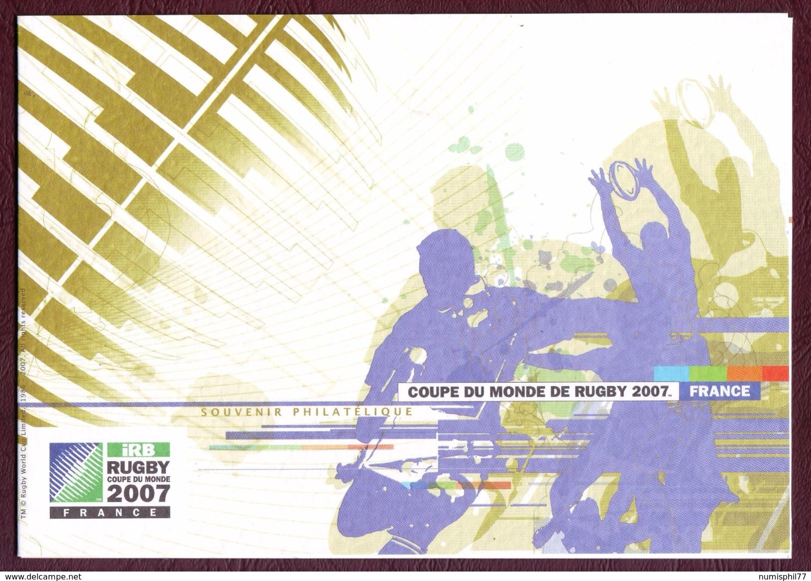FRANCE 2007 -  COUPE DU MONDE DE RUGBY - Timbre Lenticulaire Oblitération PARIS - 3 Volets Format A5 - Blocs Souvenir