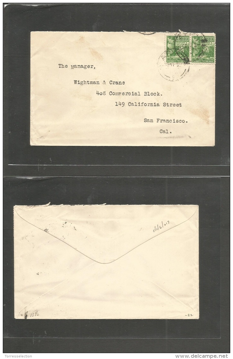 Bc - Samoa. 1927 (27 Sept) Apia - USA, SF, CAL. Fkd Env 1/2d Green Pair. Cds. - Unclassified