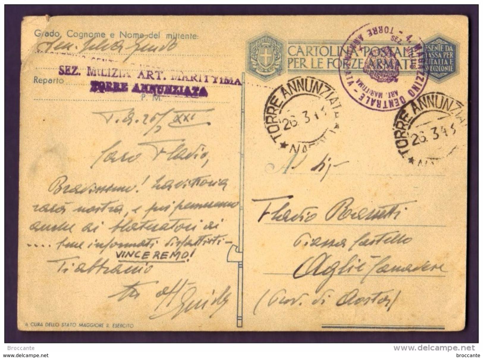 1943 SEZ. MILIZIA ART MARITTIMA TORRE A. X AOSTA - CARTOLINA  PER LE FORZE ARMATE - FRANCHIGIA - BASSORILIEVO - 1900-44 Vittorio Emanuele III