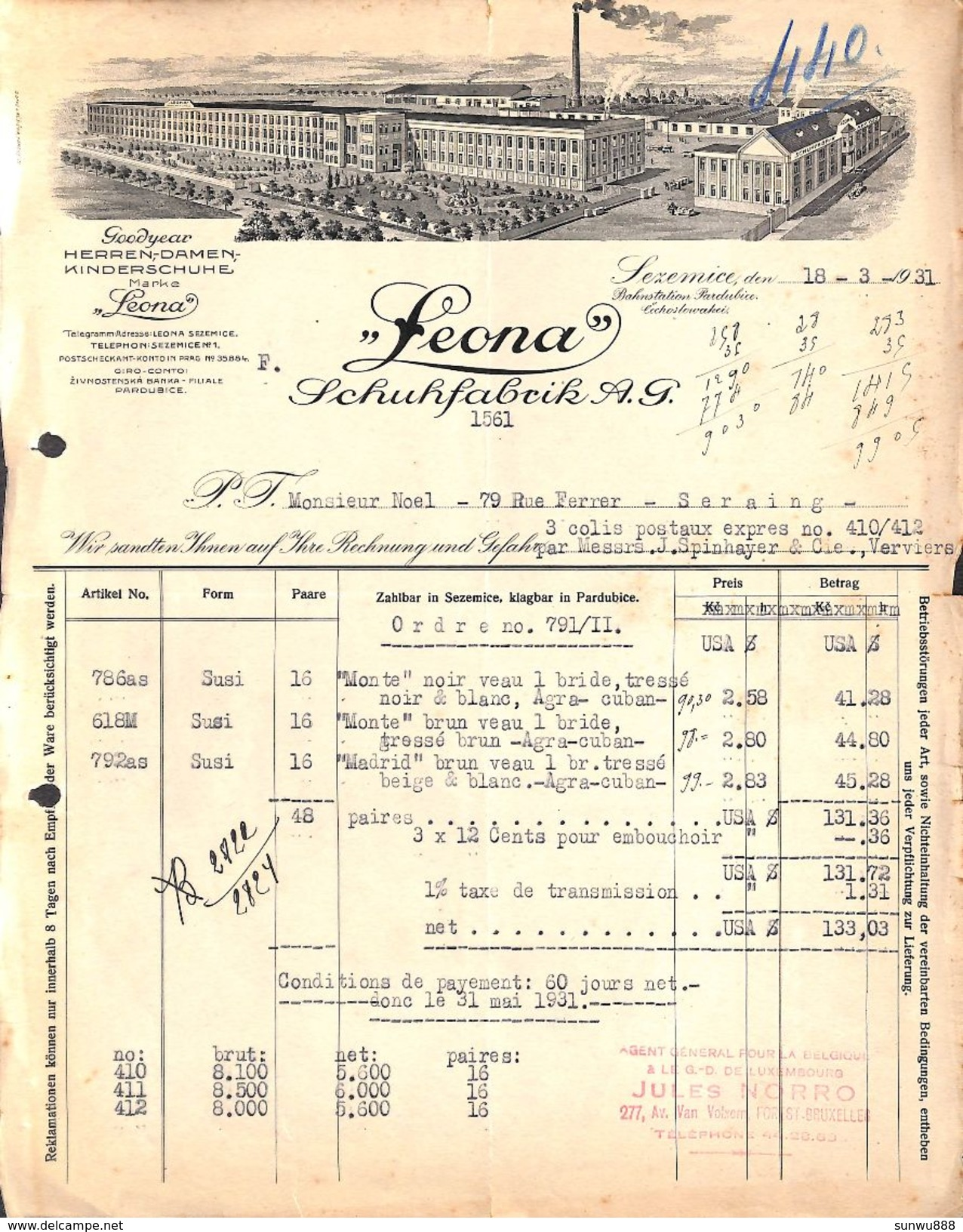 Leona Schuhfabrik AG, Lezemice, 1931 (Illustration, USA$ ) - Allemagne