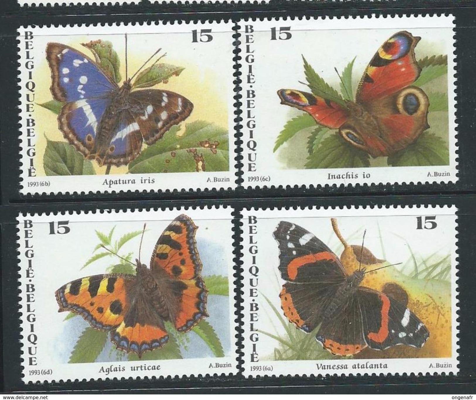 Dessins De Buzin: Papillons N° 2503/6 (état: **) - 1985-.. Oiseaux (Buzin)