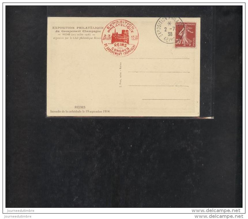 Carte Exposition Philatelique Reims 1938 - Poststempel (Briefe)