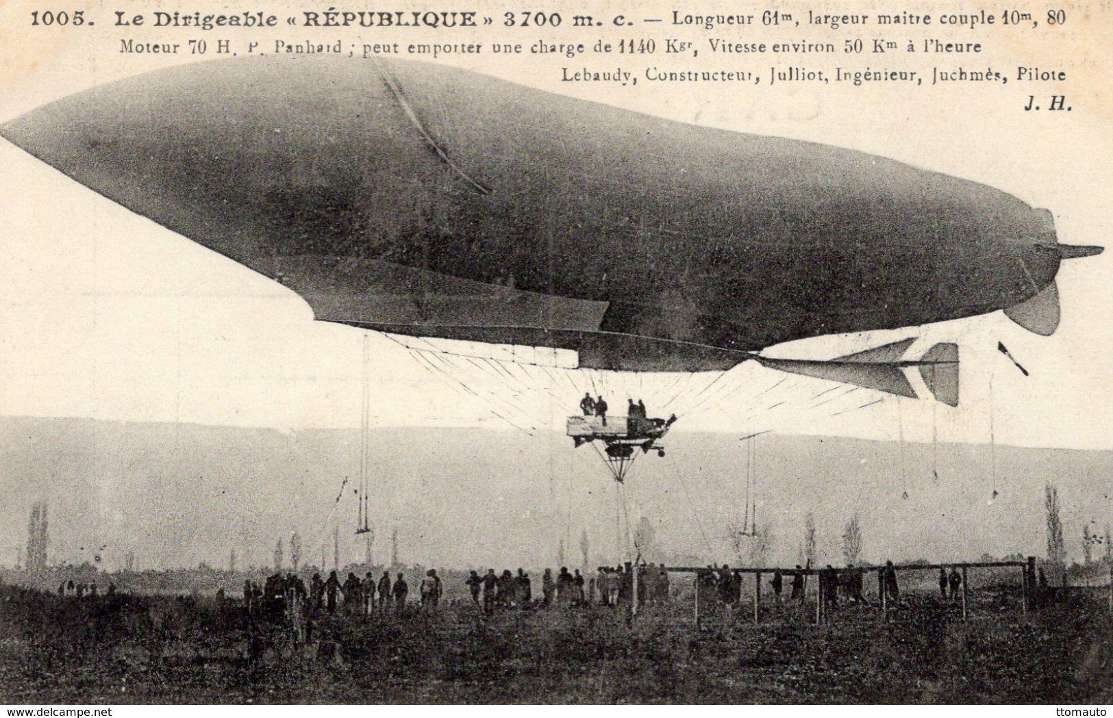 Le Ballon Dirigeable 'REPUBLIQUE'  -  Constructeur: Lebaudy - Ingénieur: Julliet - Pilote: Juchmés   -  CPA - Globos