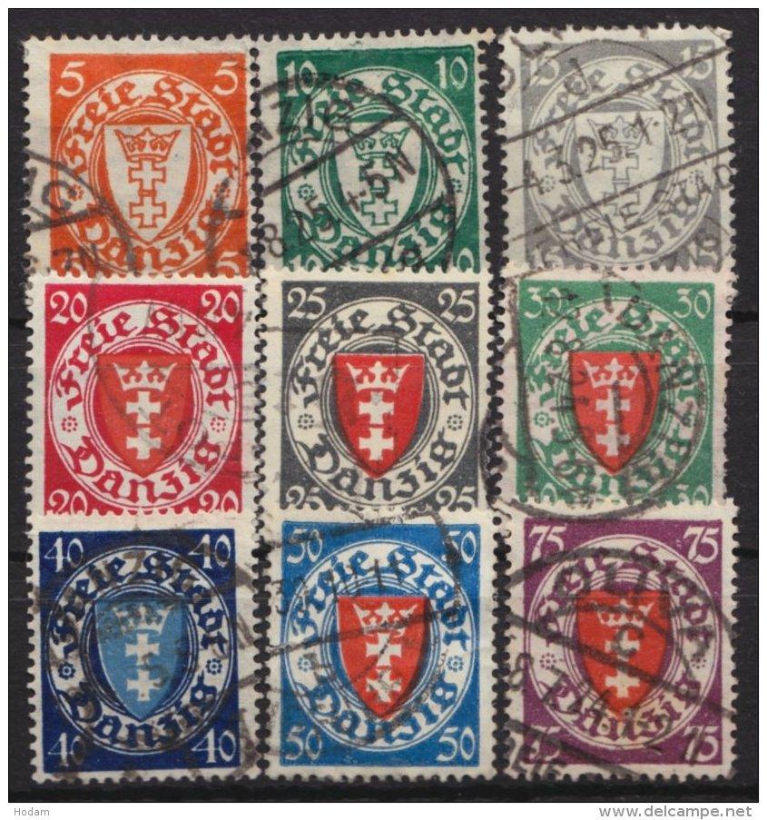 """Wappen"", 1924, Komplett, 193/201, O - Danzig"