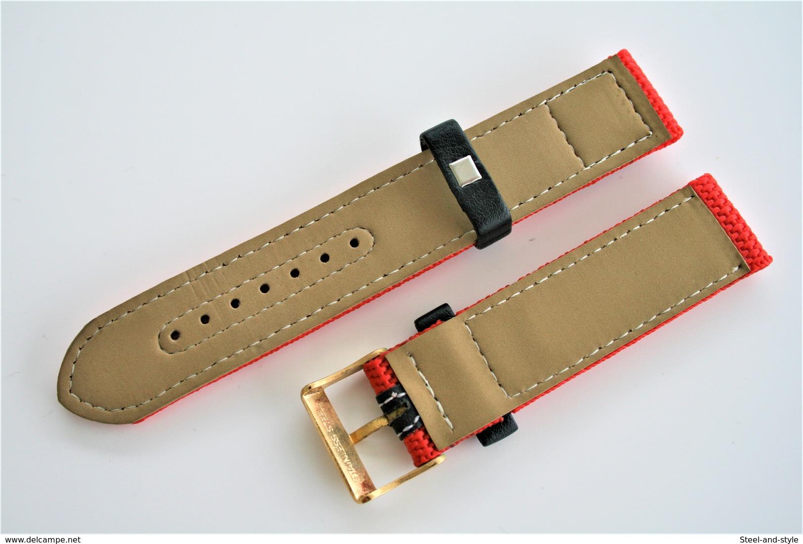 Watches BANDS : MINOTT Sport-Watch - 20mm - Red - Original - Stainless Steel Buckle - New - Autres
