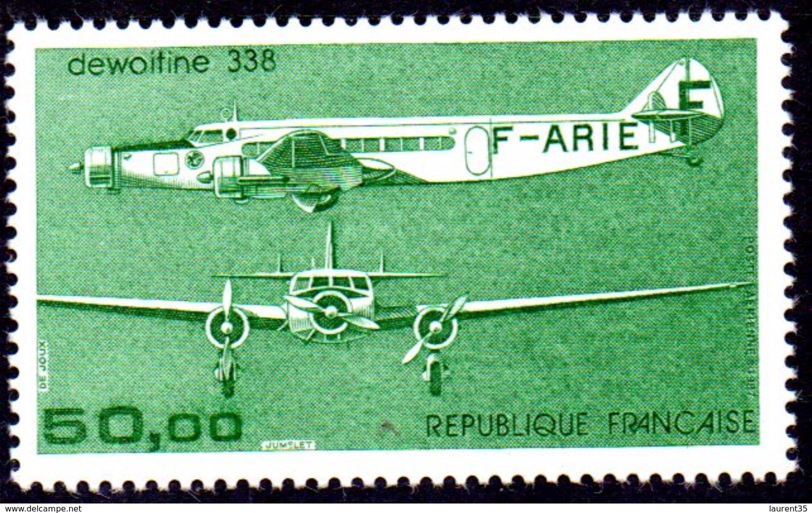 France. Poste Aerienne No 60 .dewoitine 338. Annee 1987 N** - Posta Aerea