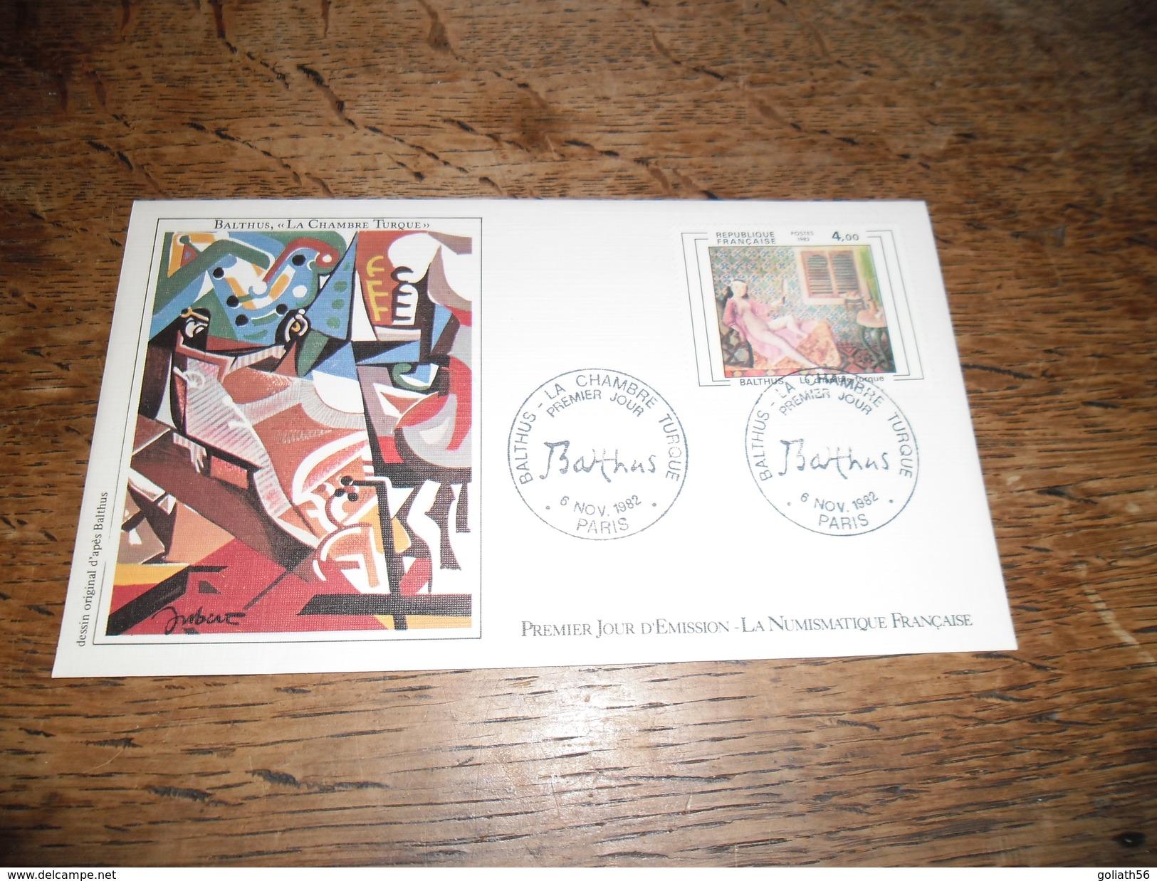 Enveloppe Premier Jour D'émission, Balthus La Chambre Turque, 6 Novembre 1982, Dessin Original D'après Balthus - Other