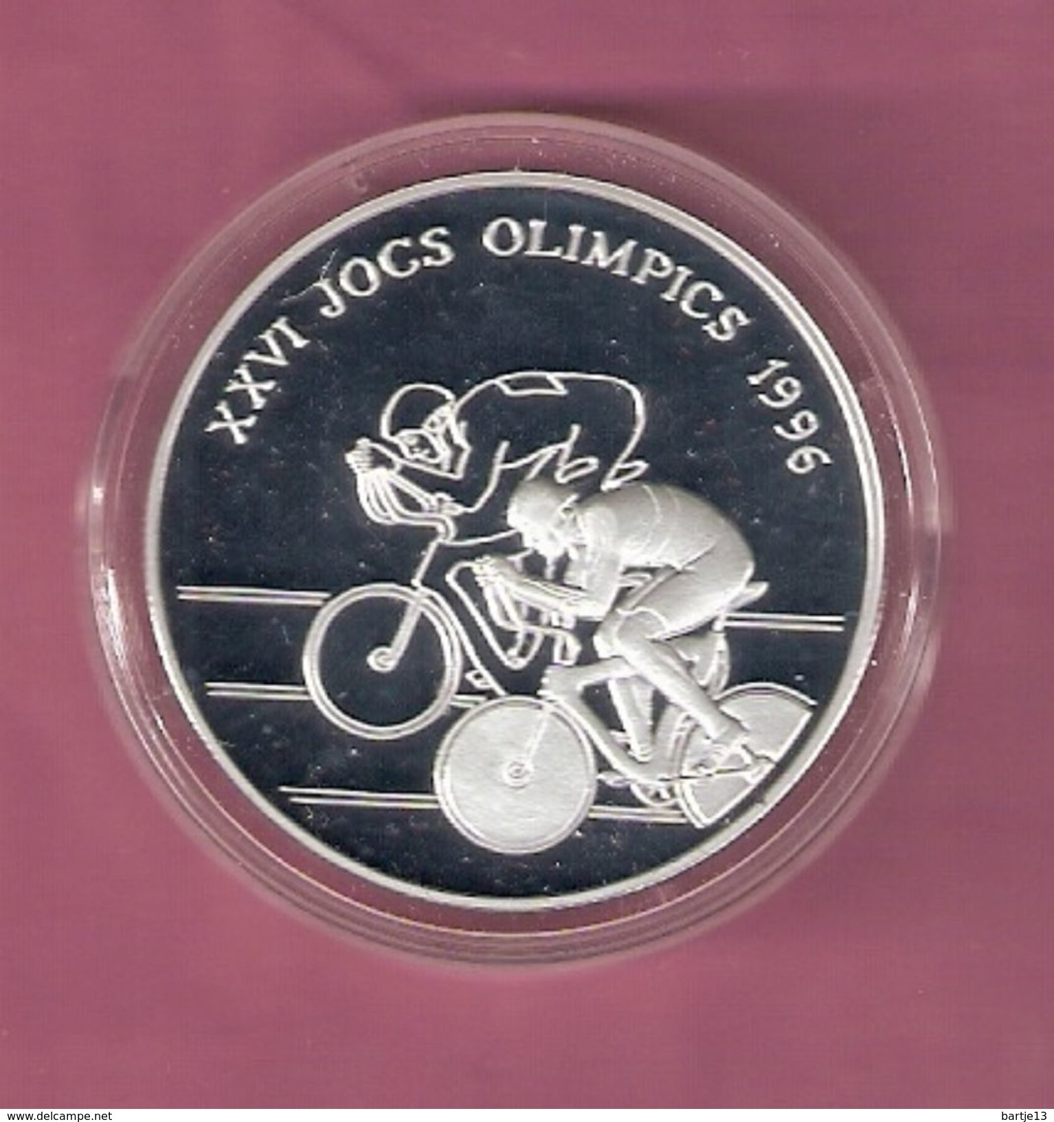ANDORRA 10 DINARA 1994 SILVER PROOF OLYMPICS CYCLING 1995 - SCRATCHES ONLY ON CAPSEL - Andorre