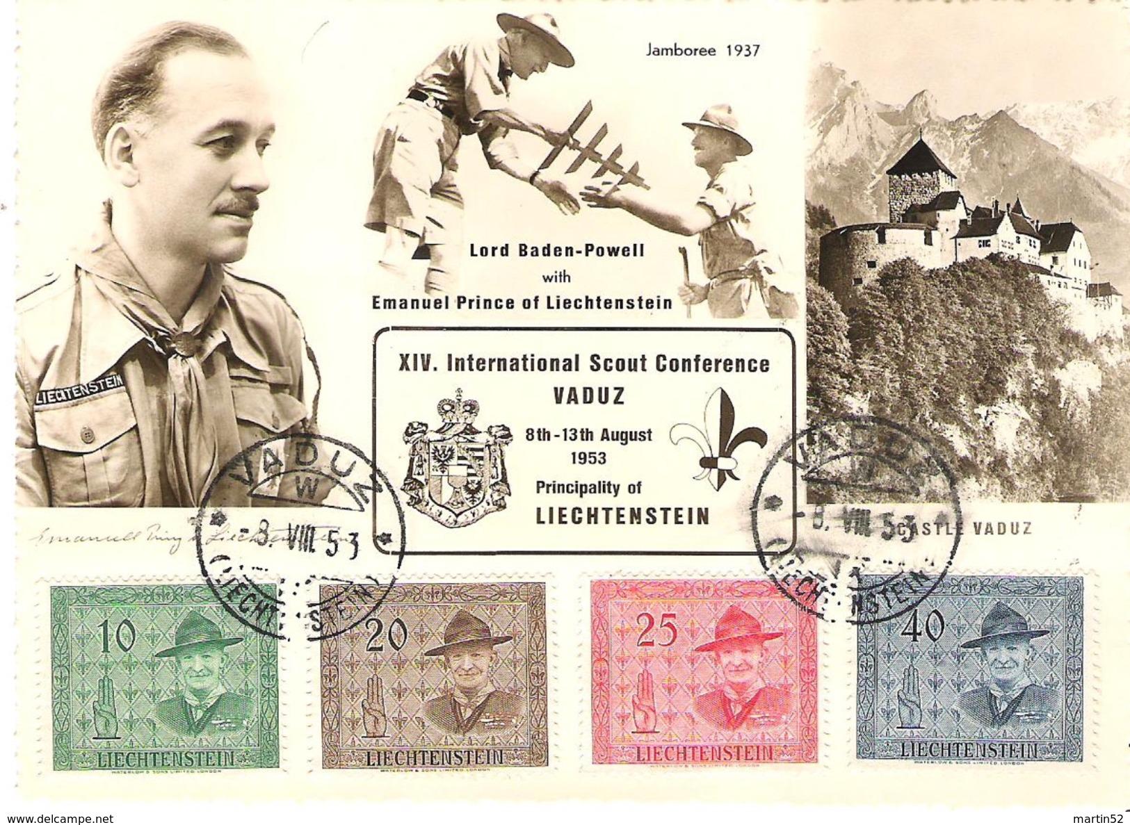 Lord Baden-Powell Mit Prinz Emanuel 1953: Zu 259-262 Mi 315-318 Yv 277-280 Auf MK  O VADUZ 8.VIII.53 - Cartes-Maximum (CM)