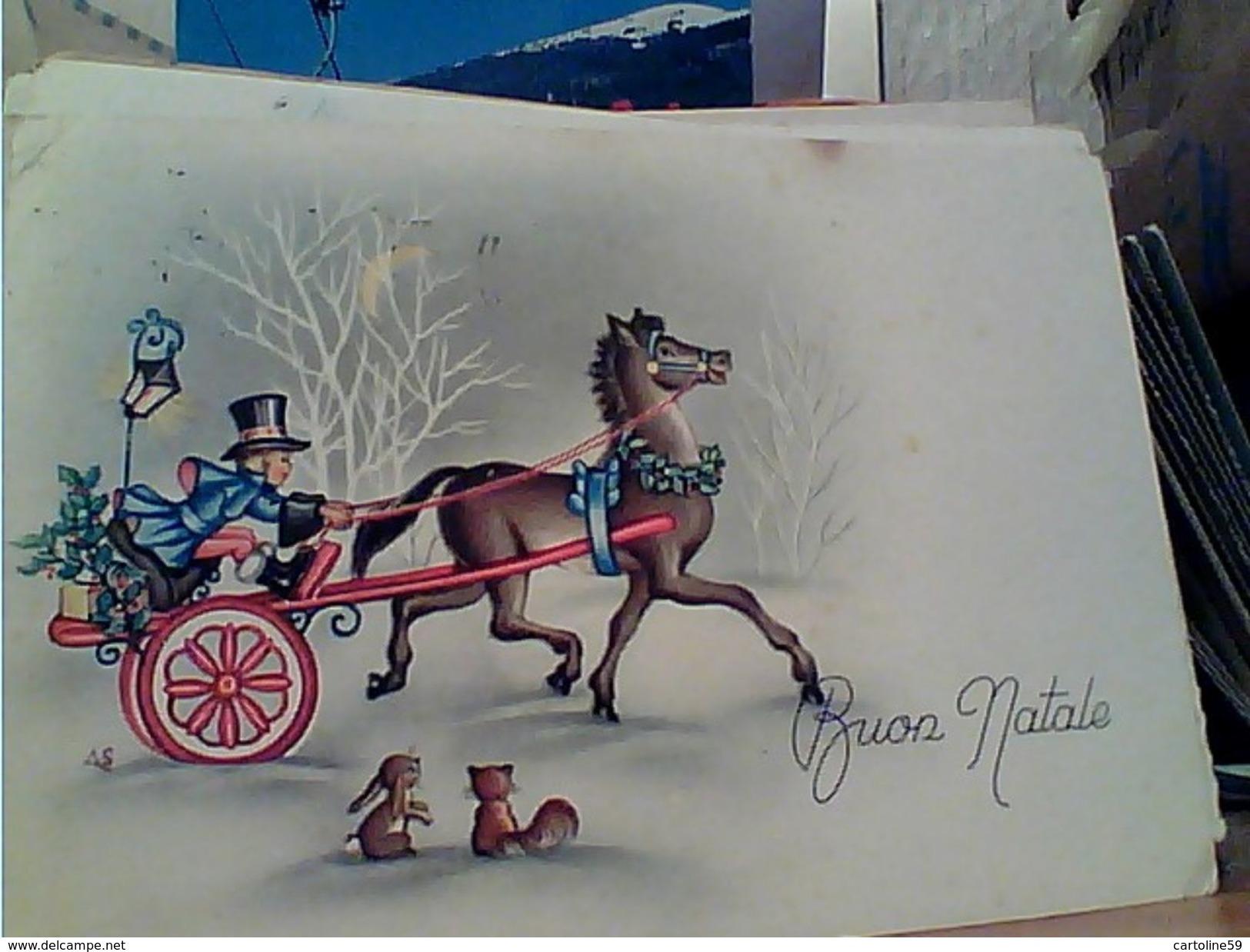 BUON NATALE BAMBINO E CALESSE CAVALLO ILLUSTRATA A S  VB1956 GI17298 - Natale