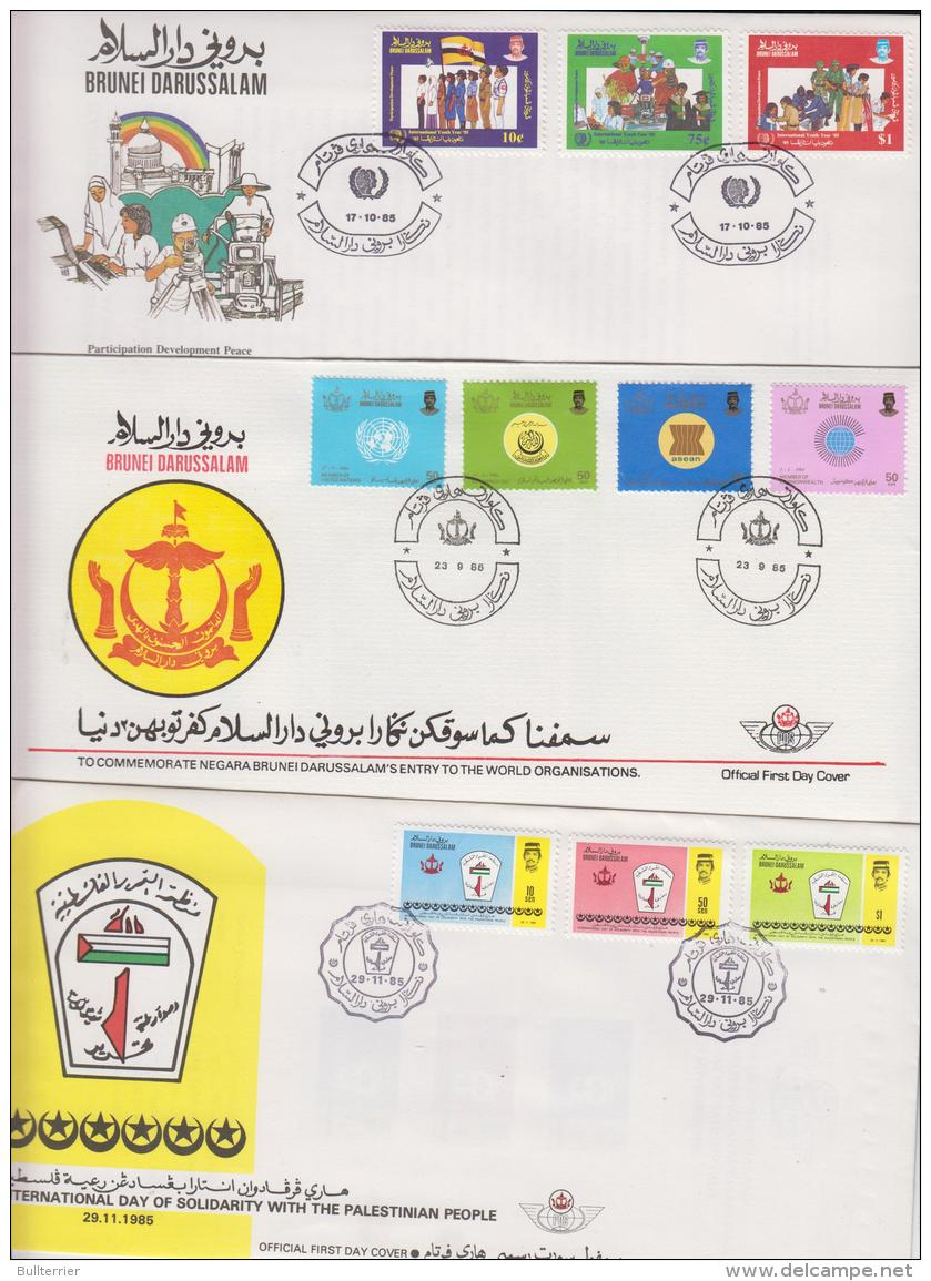 BRUNEI - 1985 - YOUTH YEAR, WORLD ORGANISATIONS & PALESTINE SOLIDARUTY SET OF 3  ILLUSTRATED FIRST DAY COVERS - Brunei (1984-...)