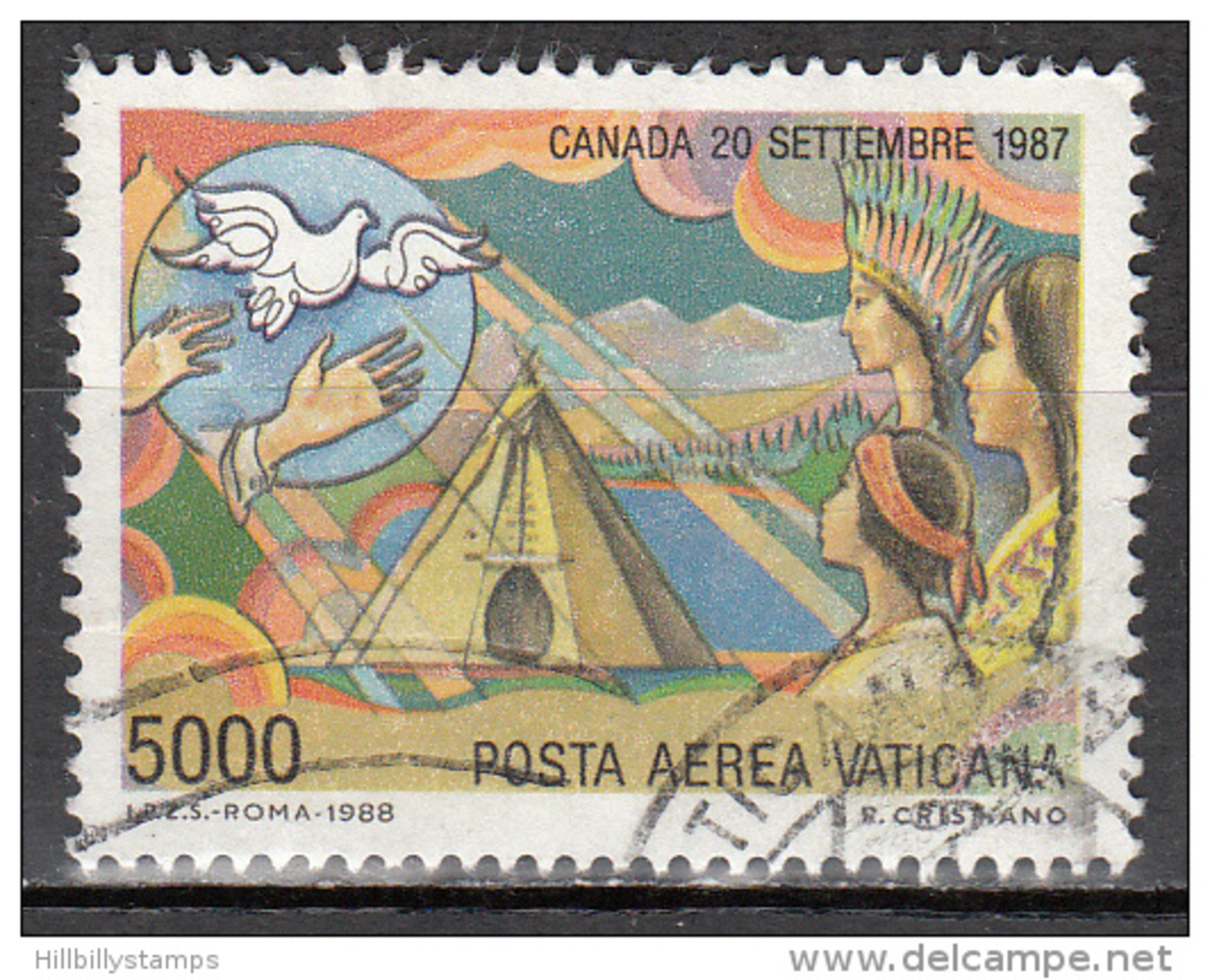 Vatican City   Scott No   C87     Used    Year  1988 - Used Stamps