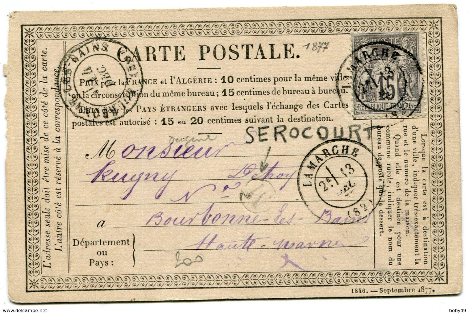 VOSGES De SEROCOURT CP Du 13/12/1877 Boîte Rurale M + Dateur T 17 De LAMARCHE - Marcophilie (Lettres)