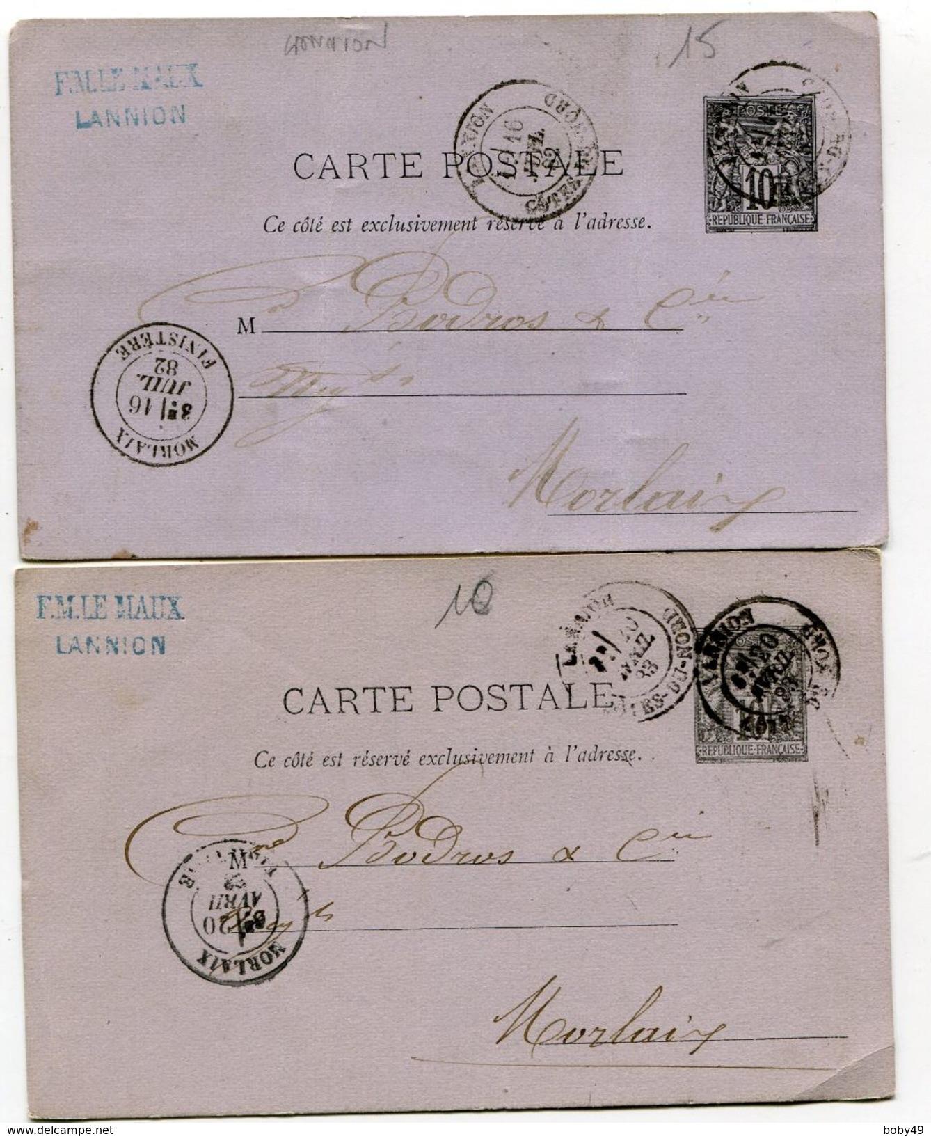 COTES D ARMOR De LANNION Dateur T 18 Sur 2 Entiers Sage De 1882 Et 1883 - Marcophilie (Lettres)