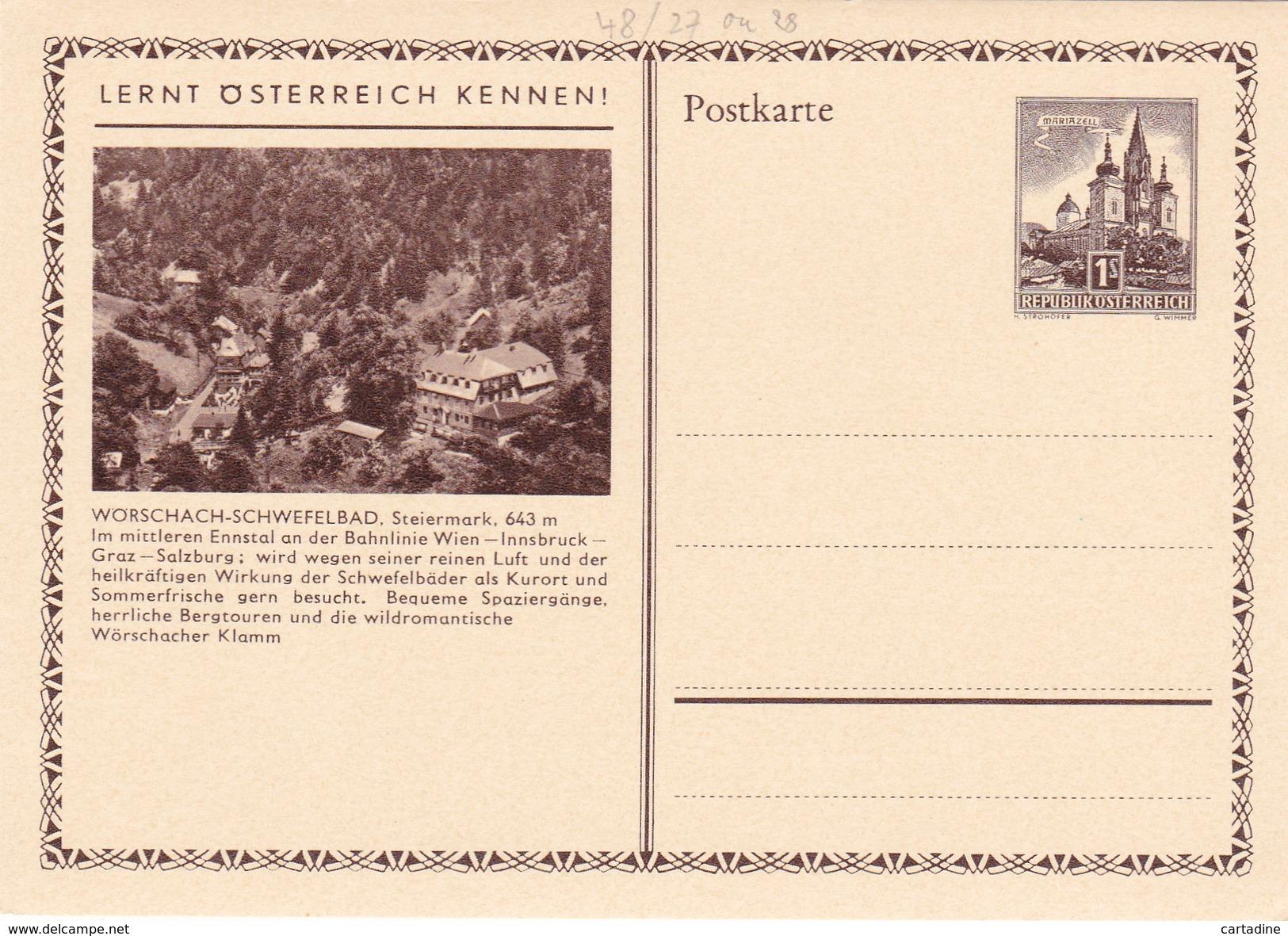 Entier Postal Autriche/Österreich NEUF - 48/27 Ou 28  -  Worschach-Schwefelbad - Entiers Postaux