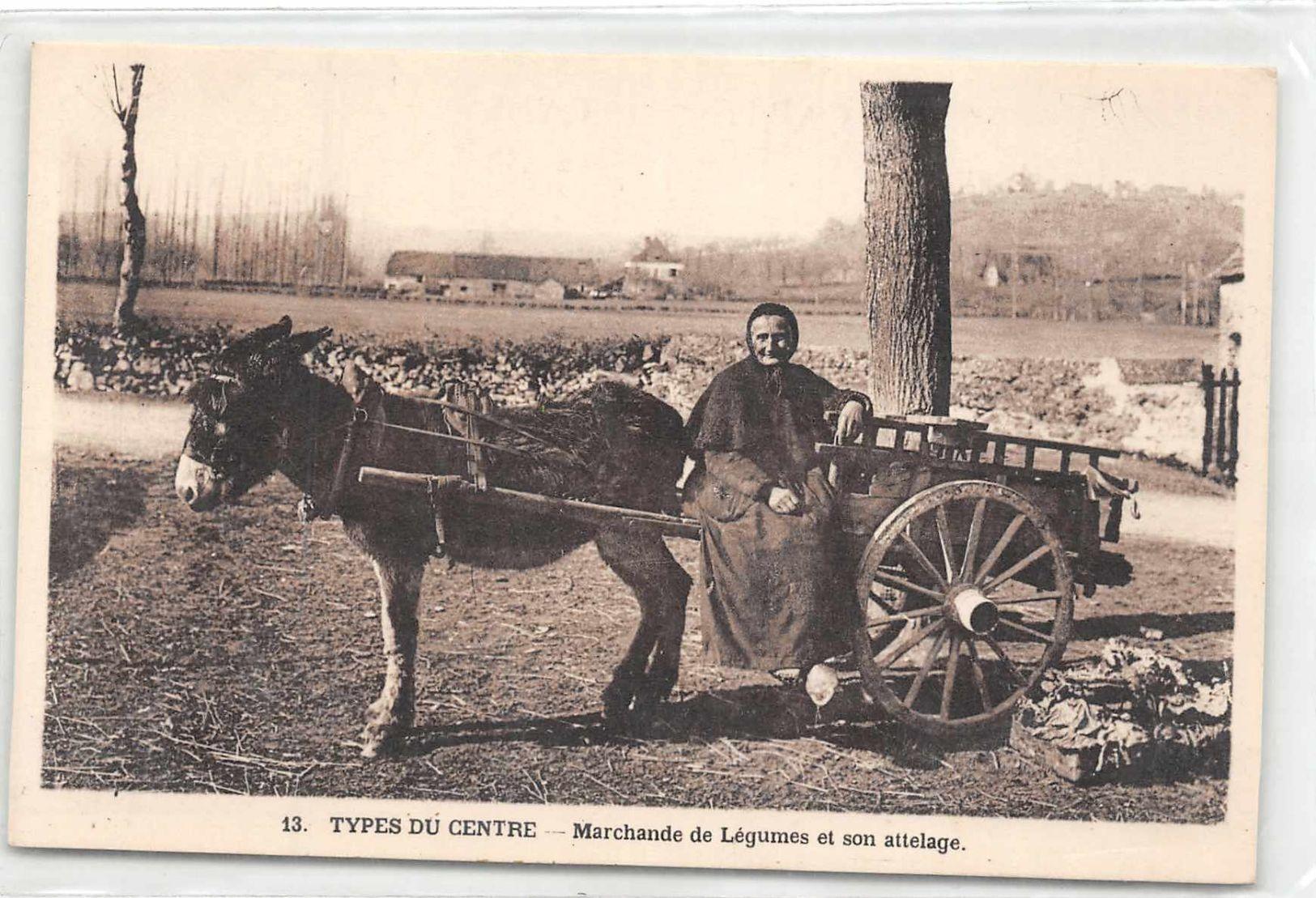 19 ? - Type Du Centre - Marchande De Legumes Et Son Attelage D'Ane (edts Guionie à Brive ) - France
