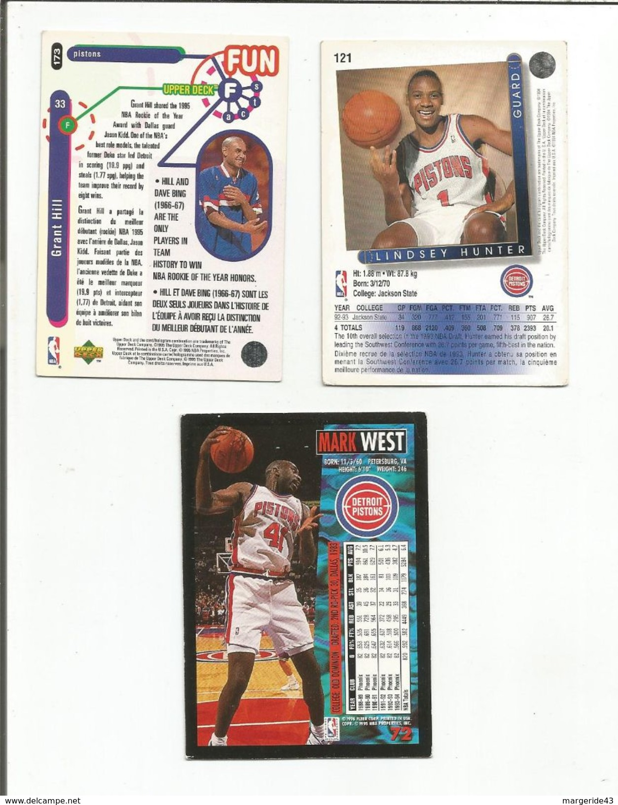 BASKETBALL NBA LOT DE CARTES DETROIT PISTONS - Trading-Karten